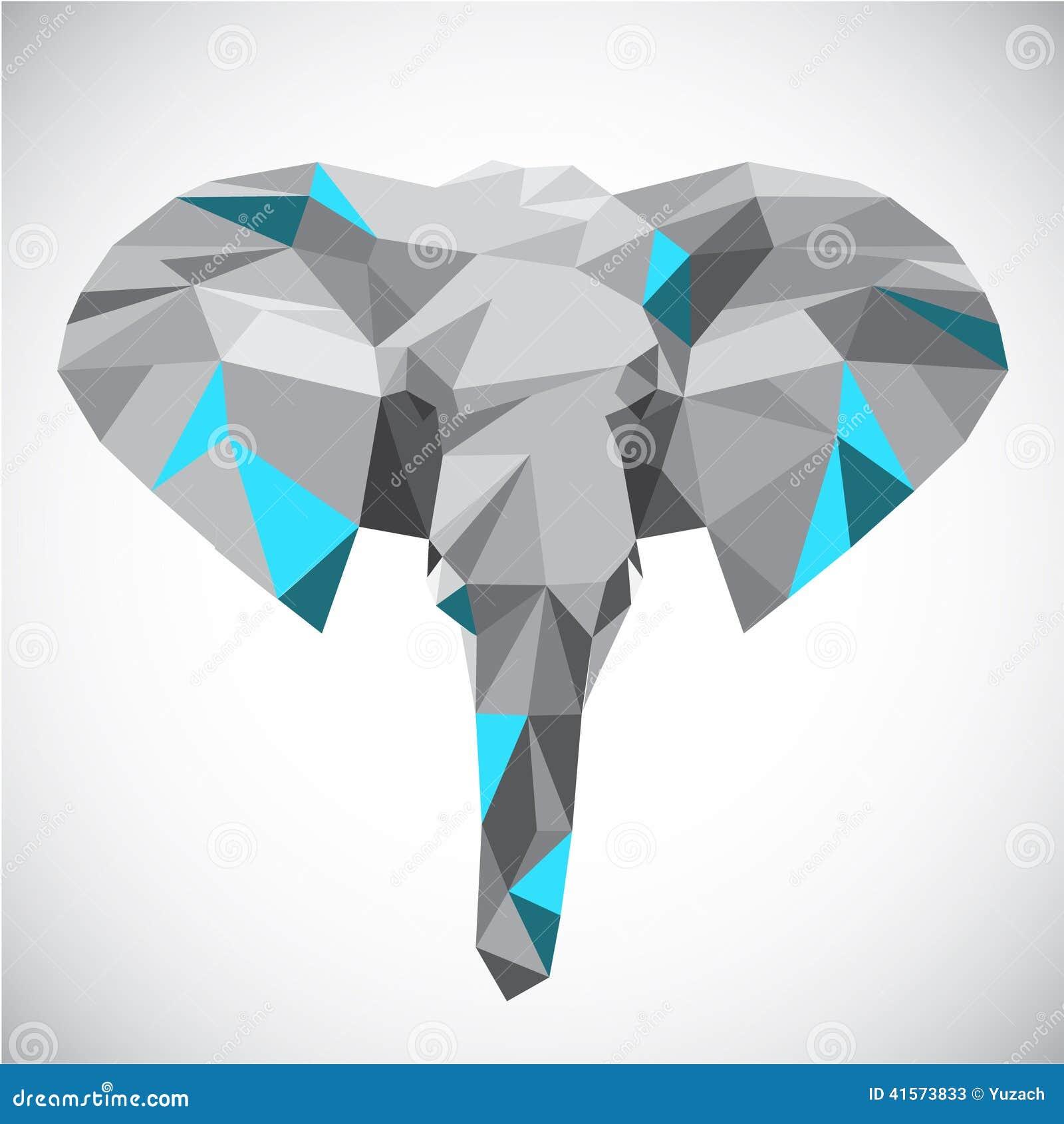 Cabeza poligonal baja del elefante en estilo popular