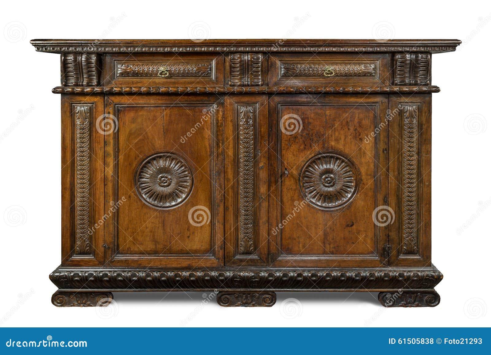CABI cinzelada de madeira do bufete do aparador do vintage italiano original velho