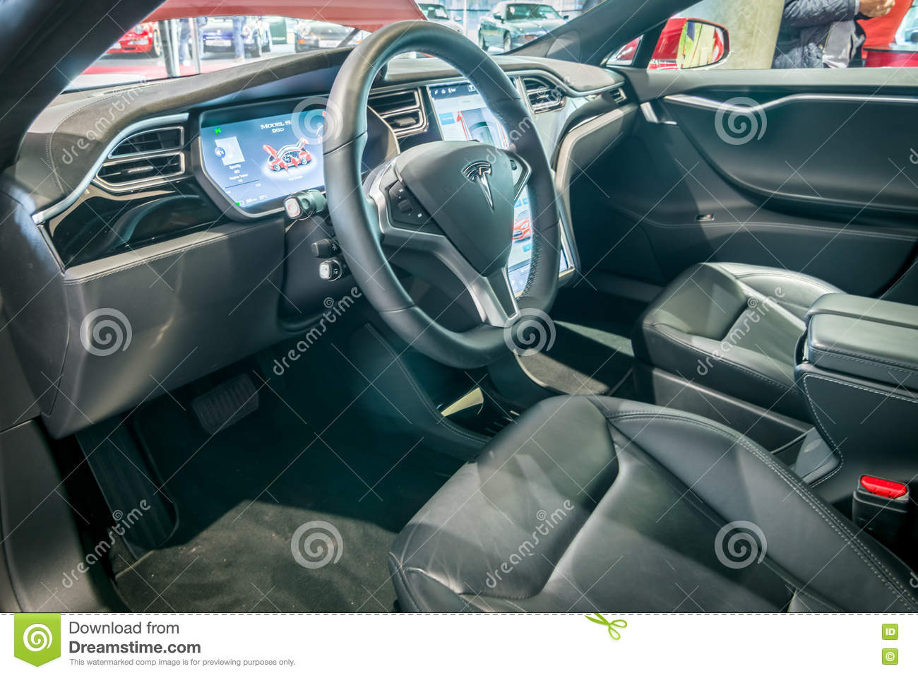 cabin of full size luxury car tesla model s awd 90d 2015 editorial photo image of automobile. Black Bedroom Furniture Sets. Home Design Ideas