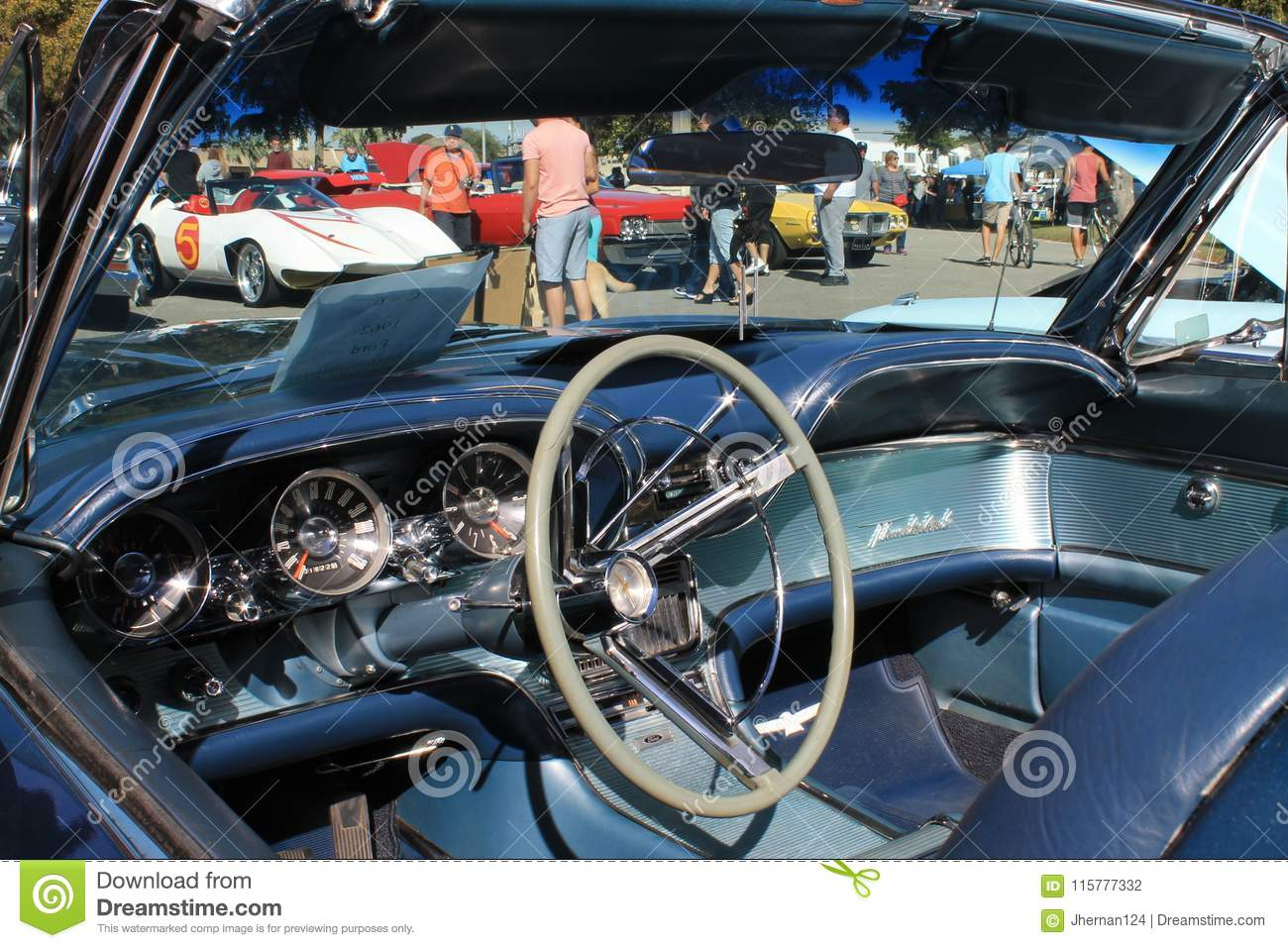 Classic American Luxury Sports Car Interior Editorial Photography