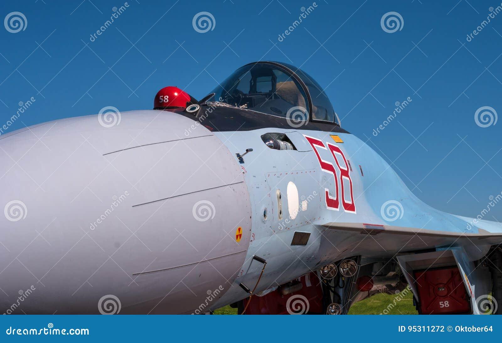 The cabin of a jet fighter pilot of Sukhoi SU35 - under the NATO codification: Flanker-E.