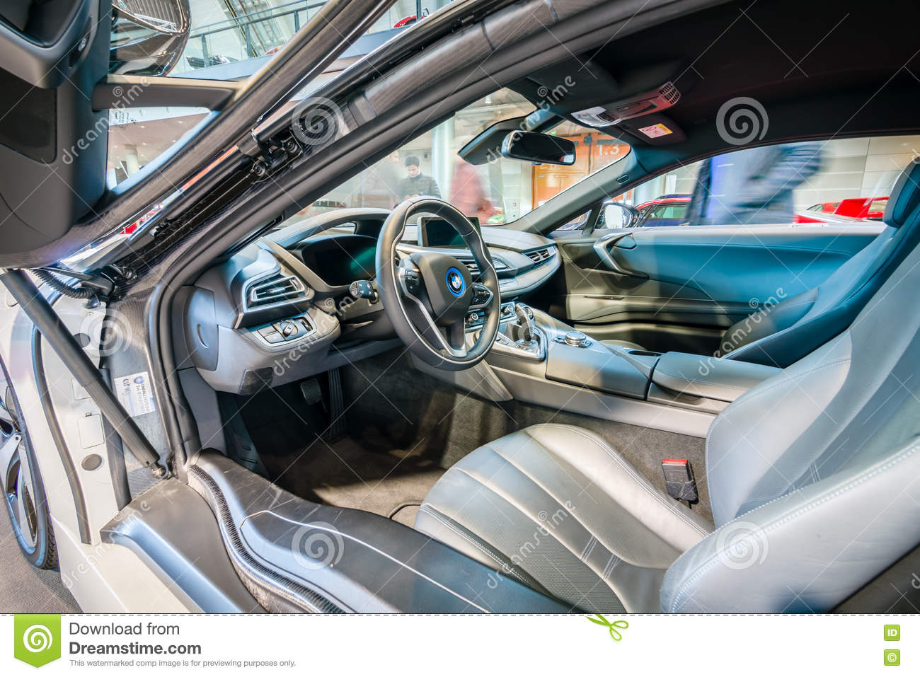 cabin of a plug in hybrid sports car bmw i8 hdri. Black Bedroom Furniture Sets. Home Design Ideas