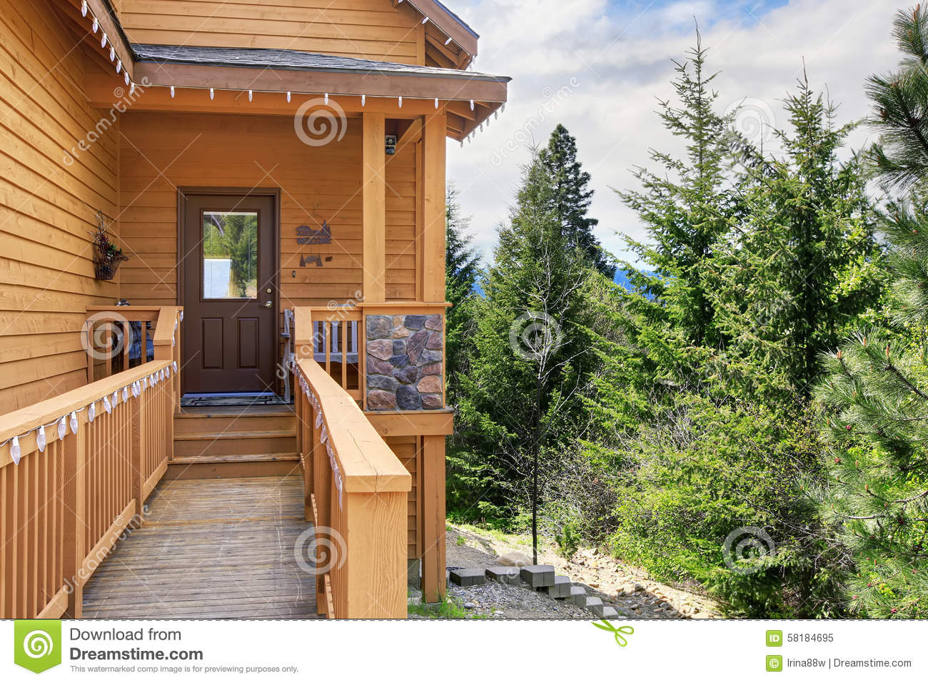cabin style home entrance with long walkway and railings stock cabin door entrance front greenery home long lots railings style