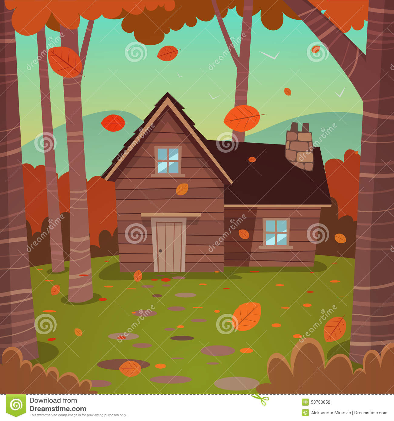 Cabin In Woods Stock Vector Image Of Structure Trunk