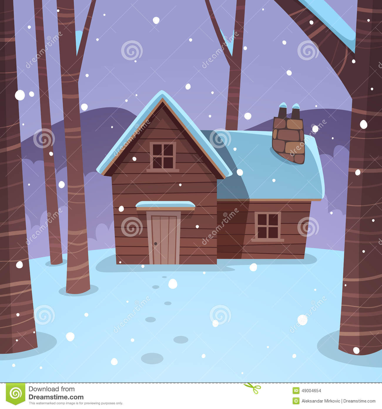 Log cabin in the woods winter - Royalty Free Vector Download Cabin In Woods