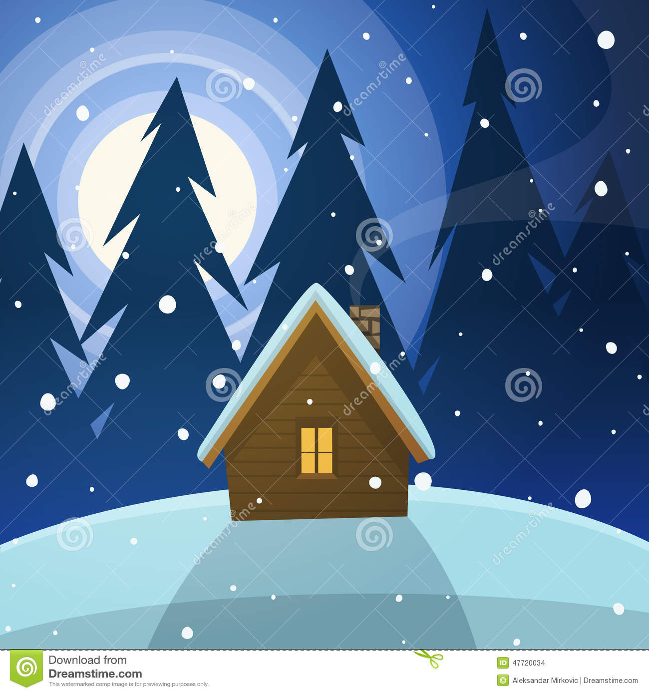Cabin In The Woods Stock Vector Image Of Vector House