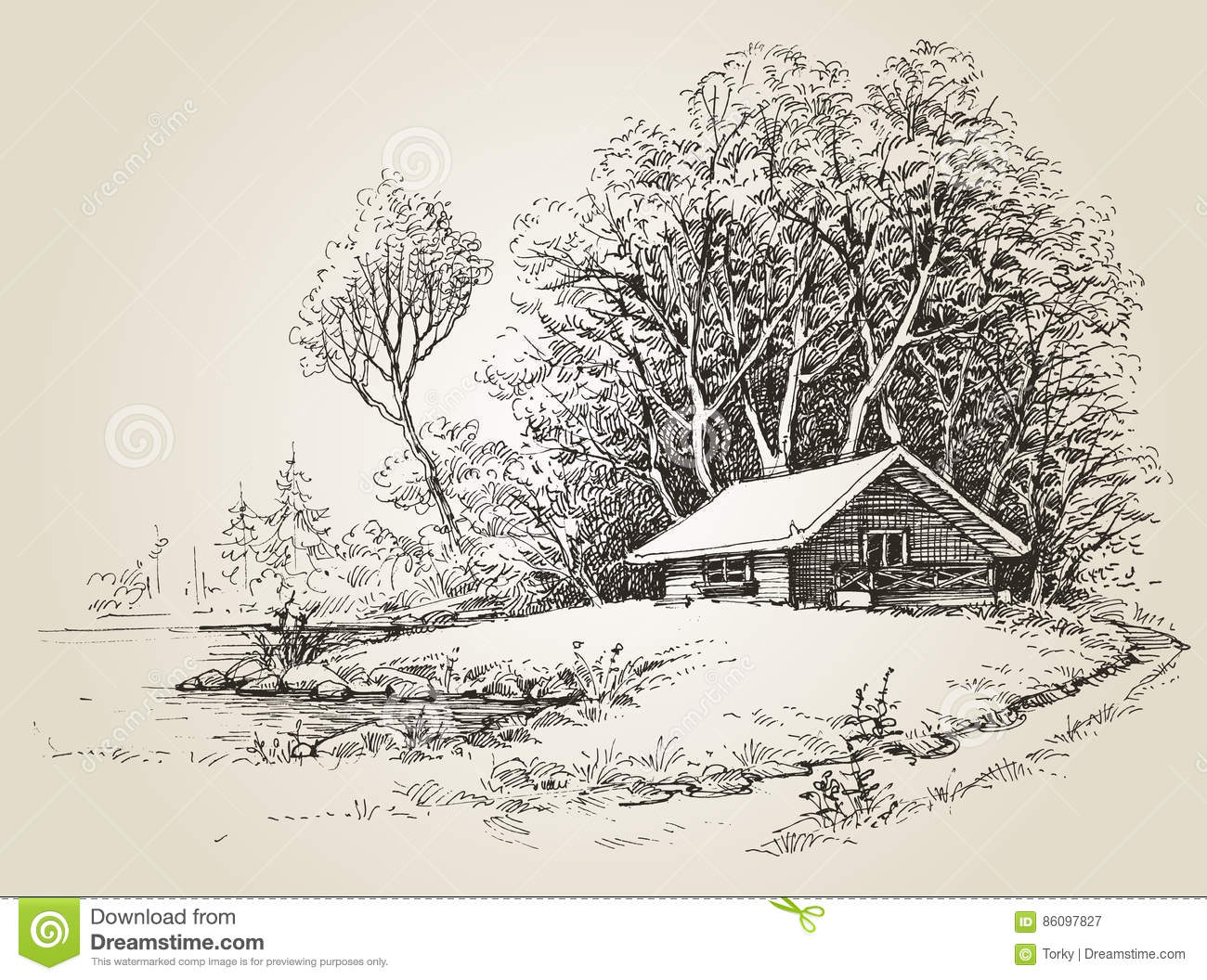 Cabin Woods Near River Banks Hand Drawing 86097827