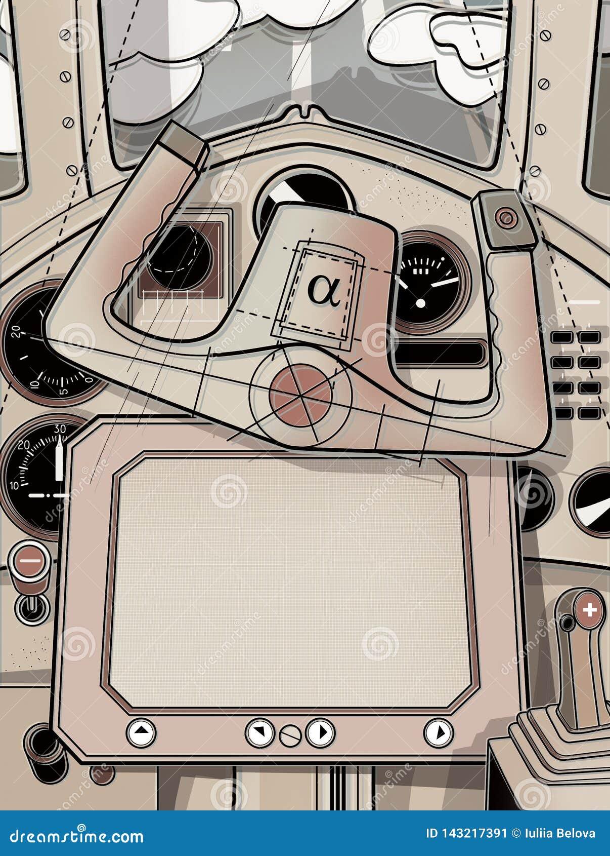 Cabina de dirección y el timón del avión Visión desde la carlinga del piloto Ejemplo de Digitaces