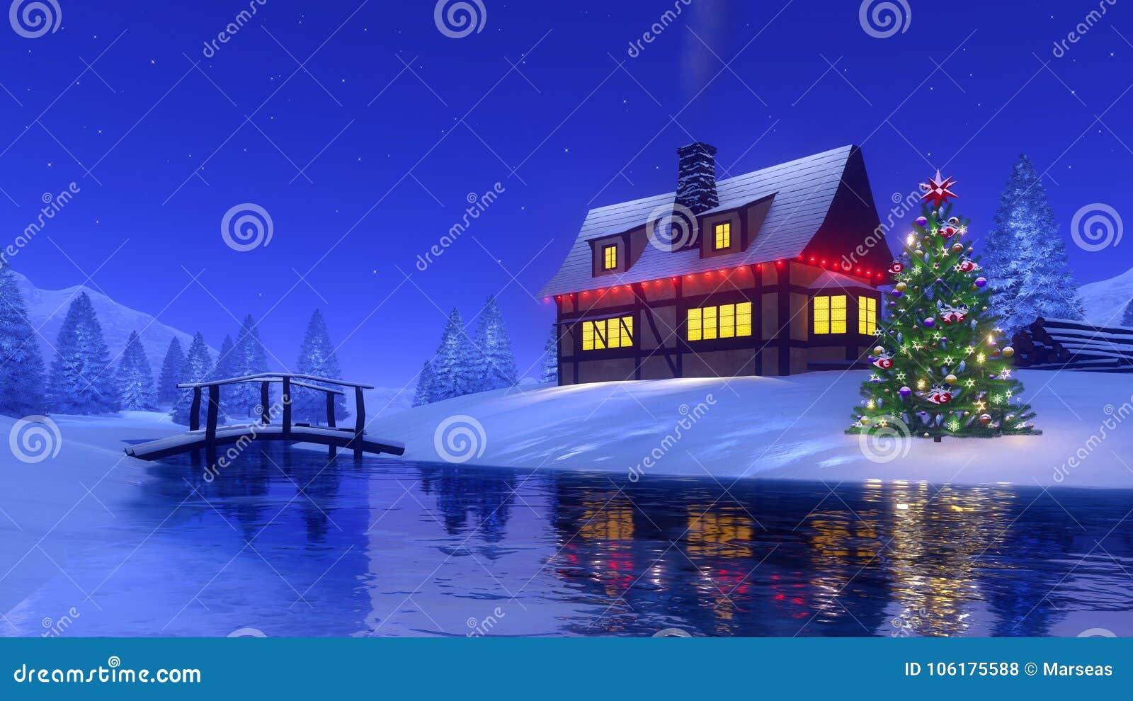 Immagini Di Natale In Montagna.Cabina Della Montagna Ed Albero Di Natale Alla Notte Di