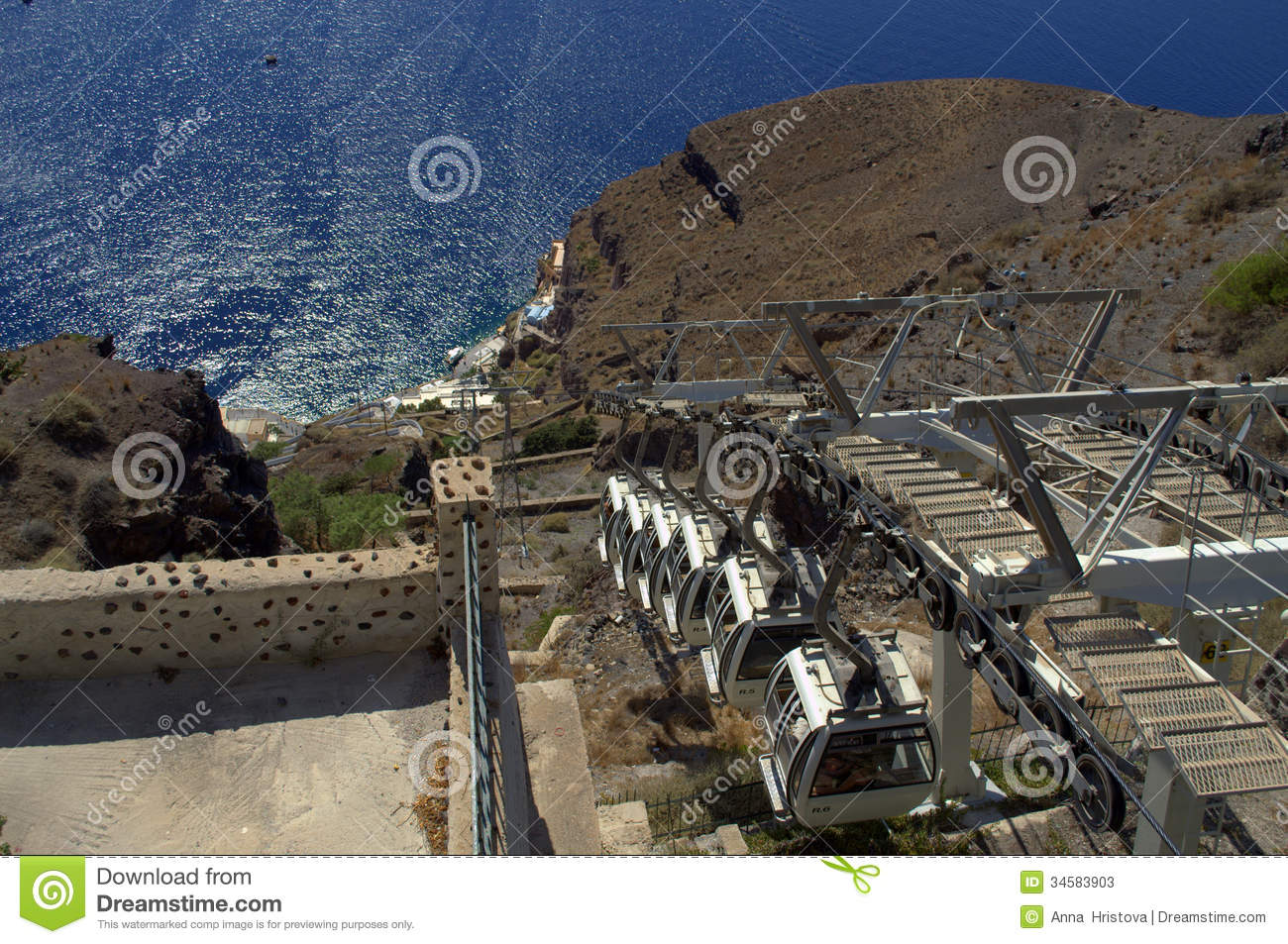 Cabina di funivia santorini immagine stock immagine for Cabina di brezza autunnale gatlinburg
