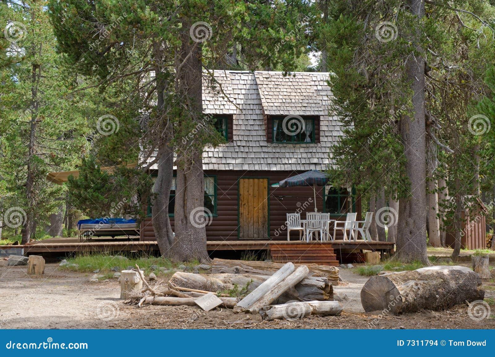 Cabina di legno in foresta