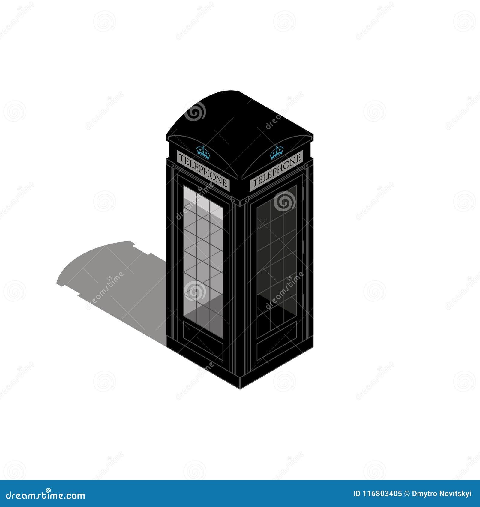 Cabina telefonica di Londra isolata su bianco Illustrazione piana di vettore