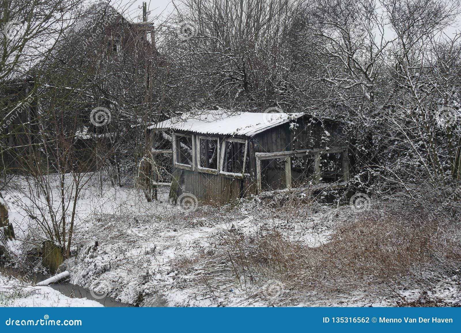 Cabine de deterioração em uma paisagem invernal