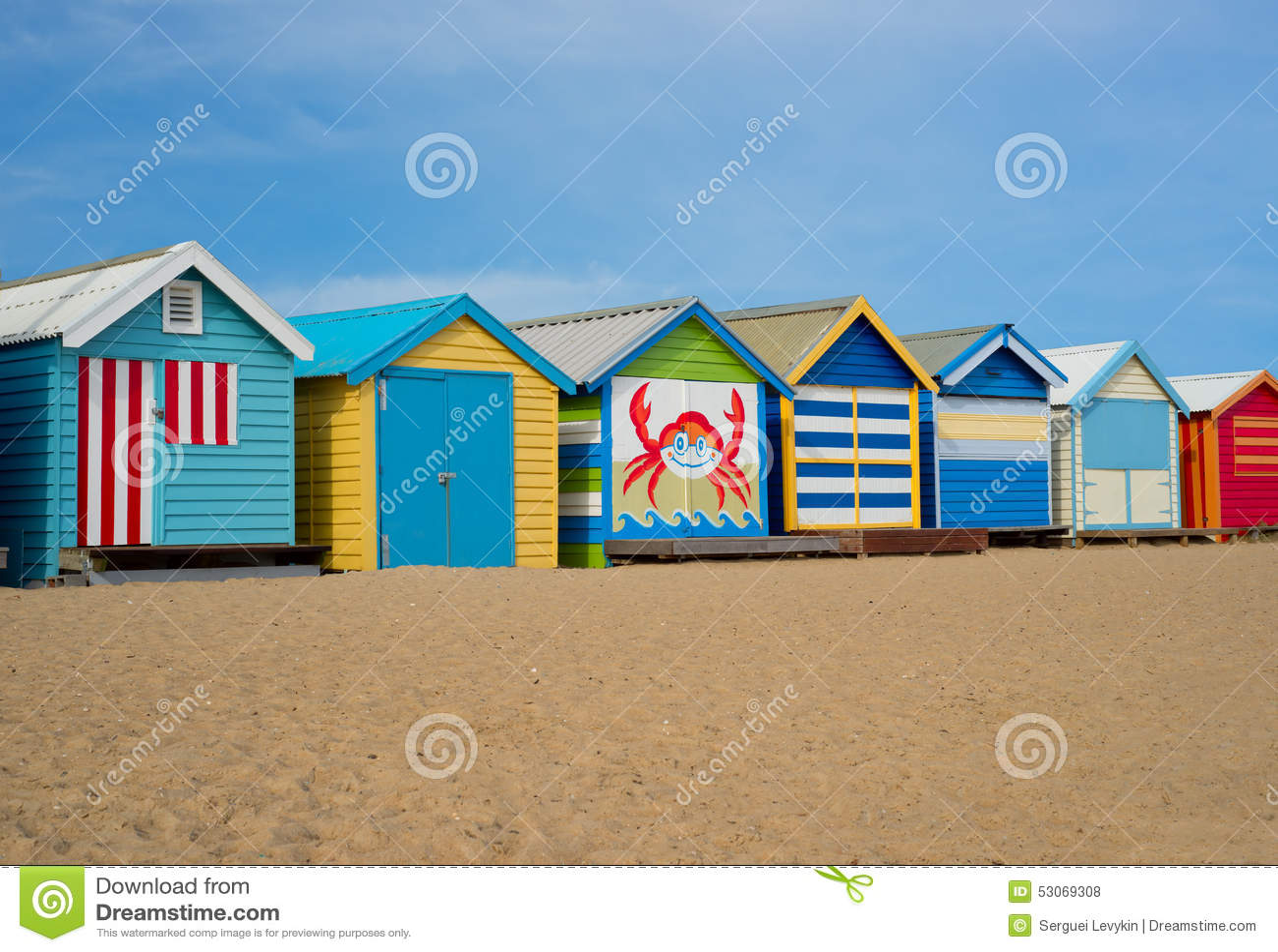 cabine della spiaggia di melbourne fotografia stock