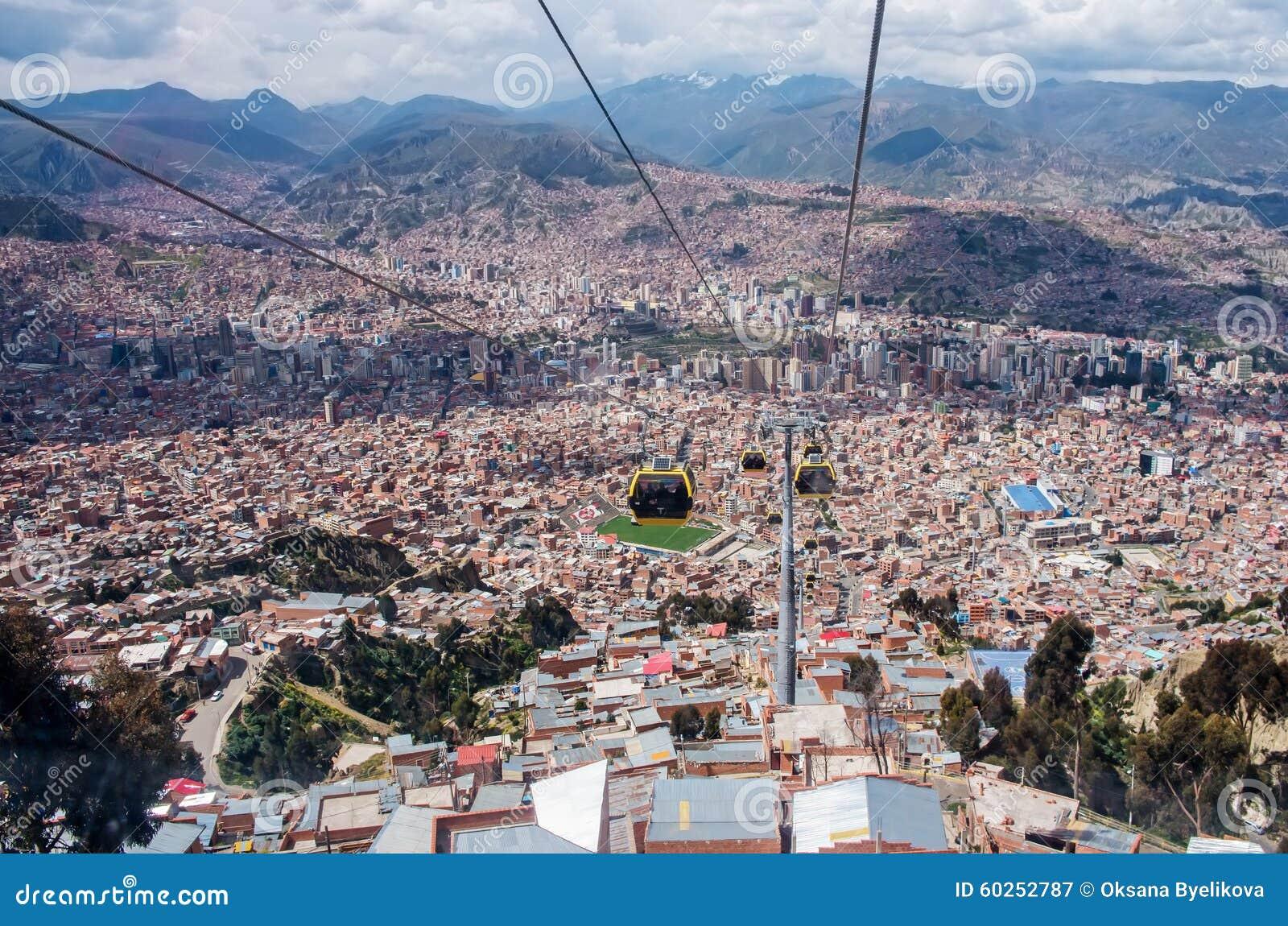 Cabine di funivia in la paz bolivia fotografia editoriale for Cabine vicino montagna di sangue