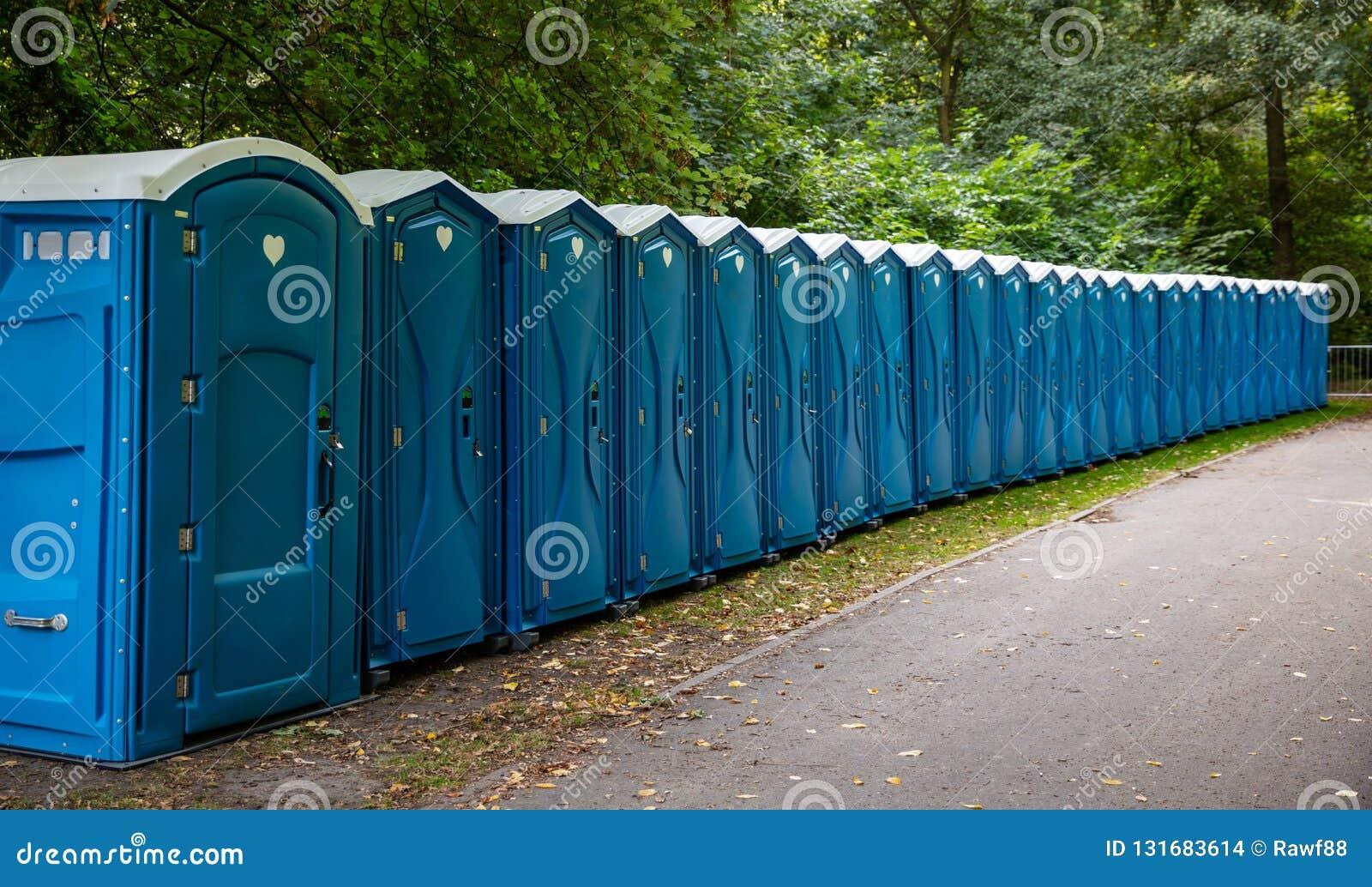 Cabine portatili del WC nel parco Una linea di toilette chimiche per un festival, contro una foresta
