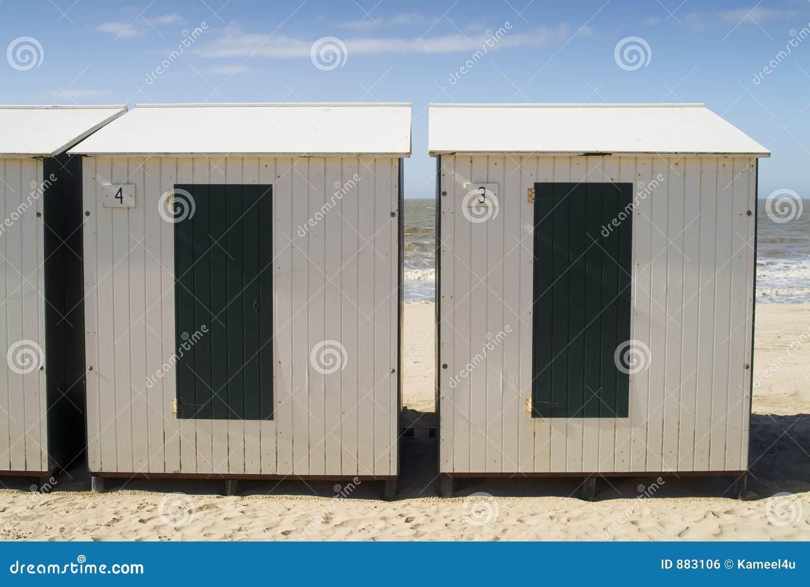 cabine sulla spiaggia mare del nord immagine stock