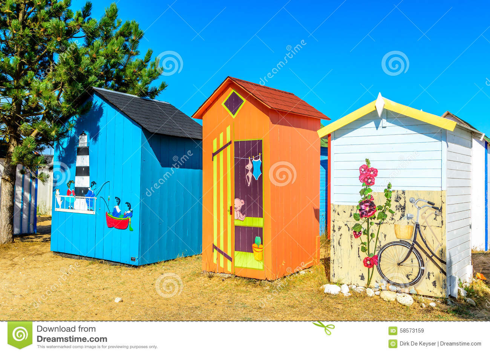 Cabines da praia na ilha de Oleron