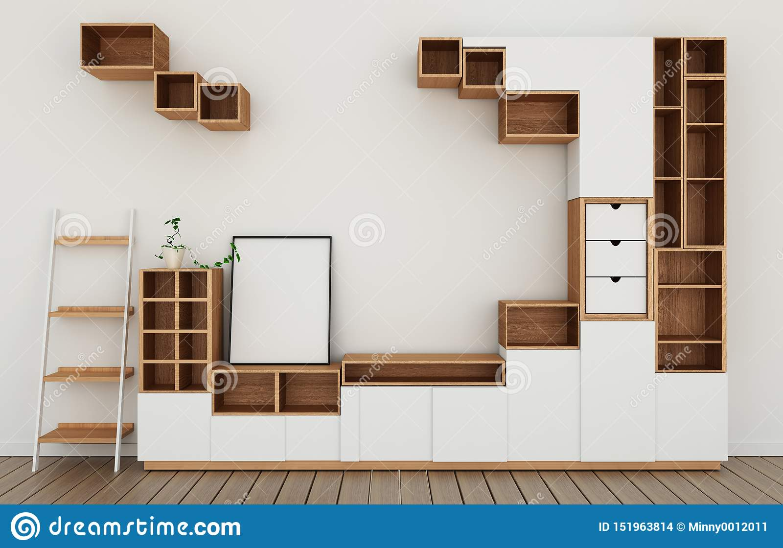 Mock Up Cabinet Design Mockup In Modern Empty Room White Floor Wooden On White Wall Room Japanese Style 3d Rendering Stock Photo Illustration Of Minimal House 151963814