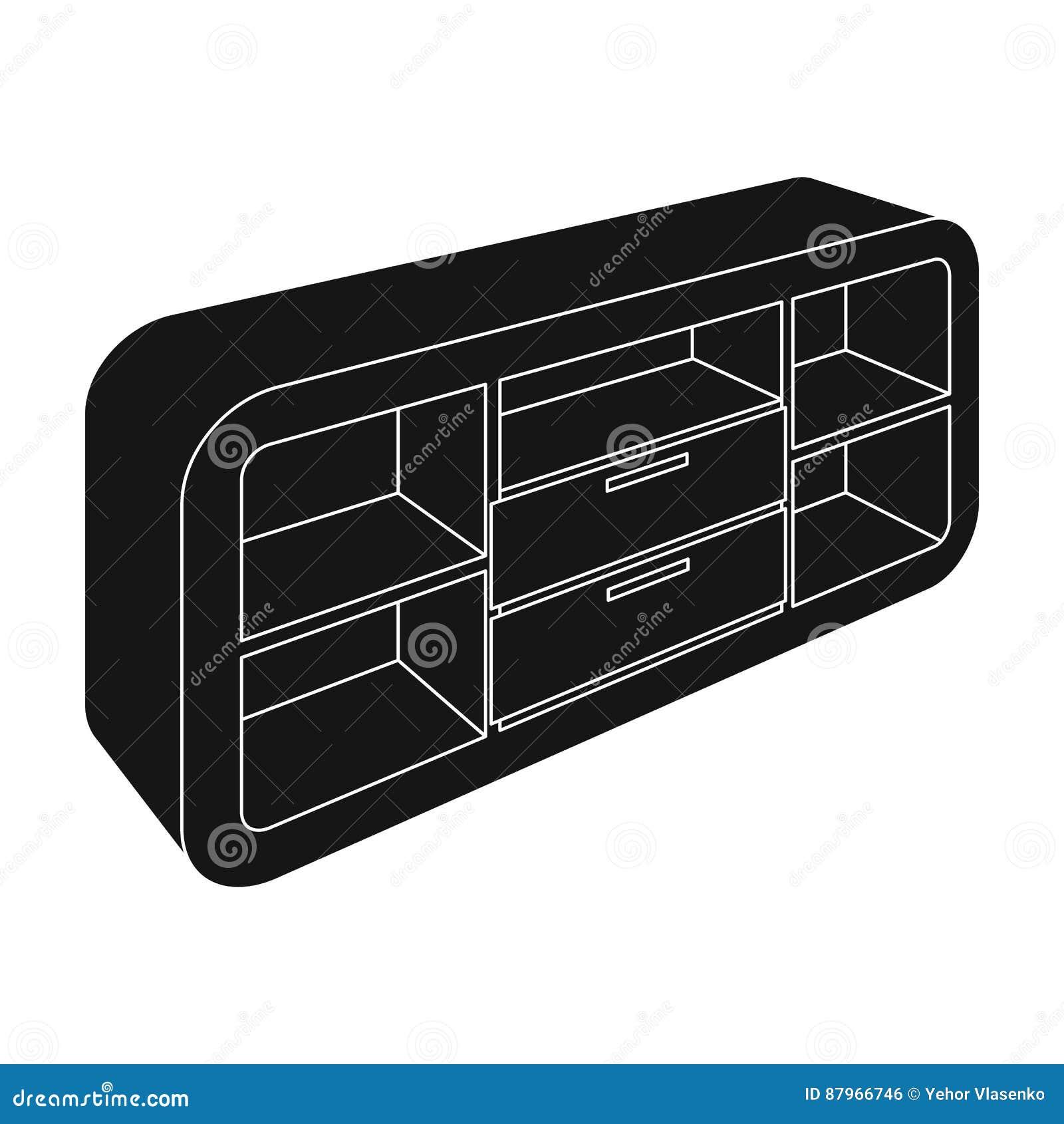 Cabinet En Bois Avec Des Casiers Et Des Placards Support De TV Icône ...