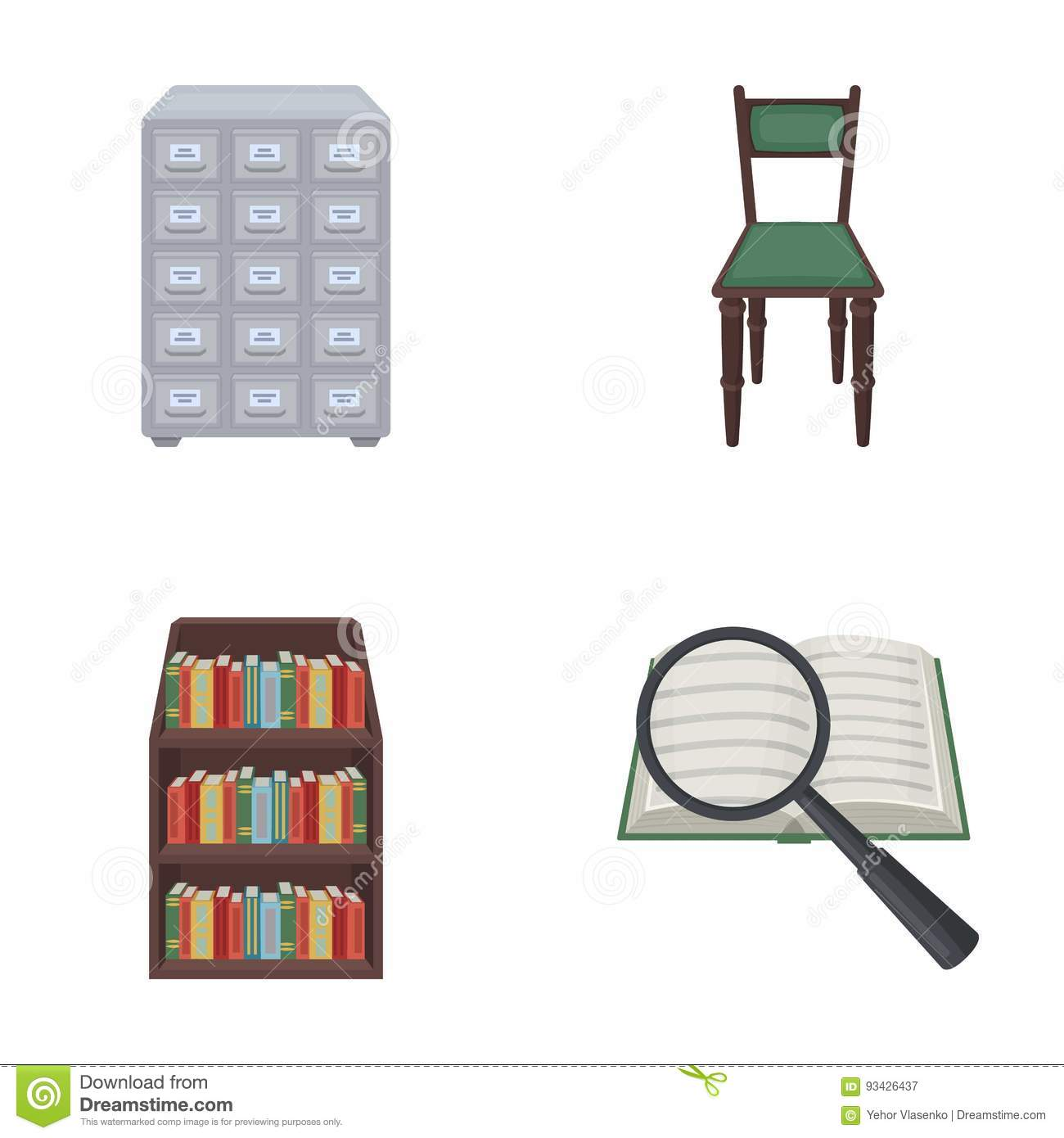 Cabinet with filing cabinet chair shelves information search. Library and bookstore set collection icons in cartoon style vector symbol stock ...  sc 1 st  Dreamstime.com & Cabinet With Filing Cabinet Chair Shelves Information Search ...