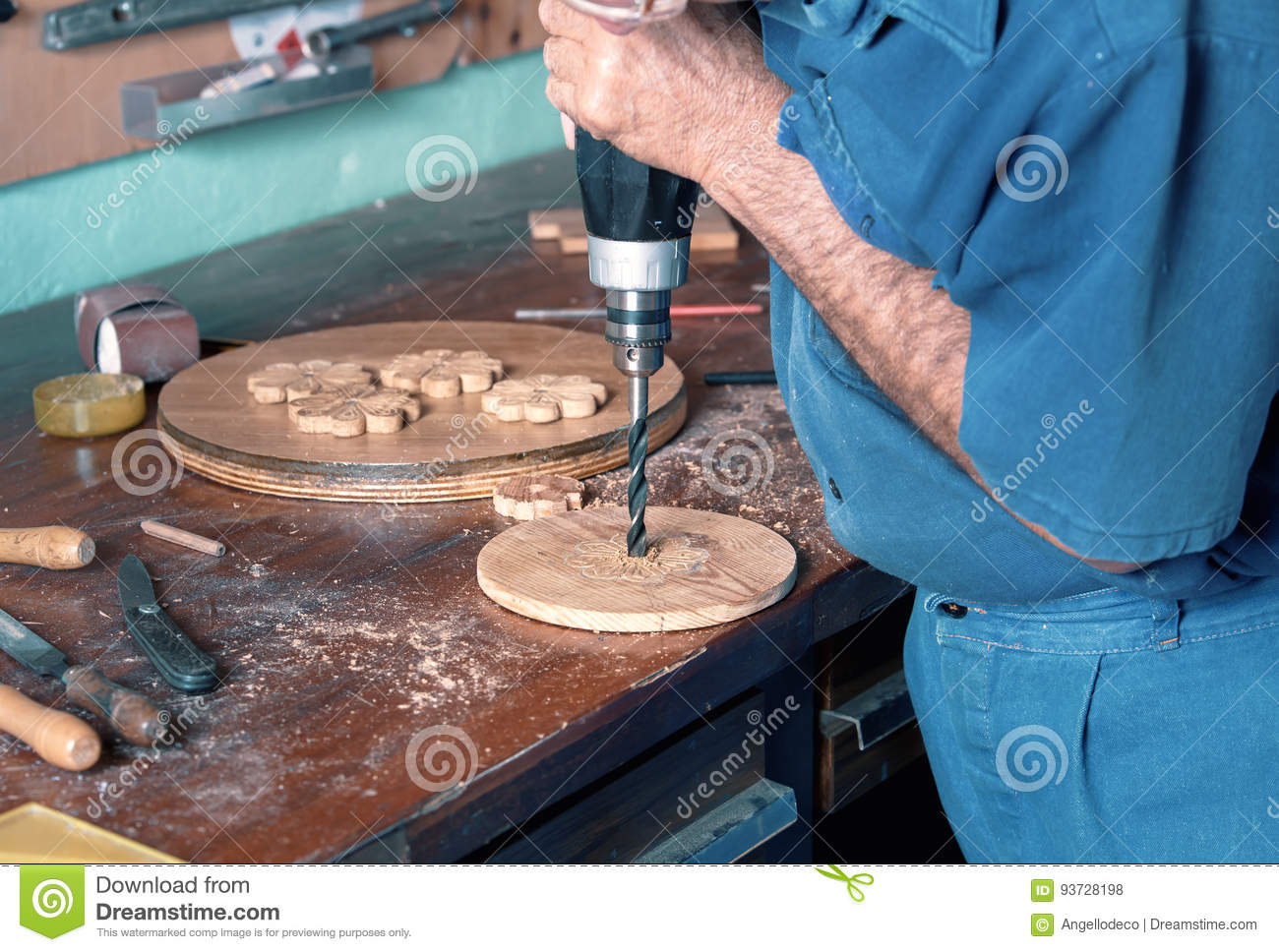 Astounding Cabinet Maker Drilling Wood With A Power Drill In Workbench Andrewgaddart Wooden Chair Designs For Living Room Andrewgaddartcom