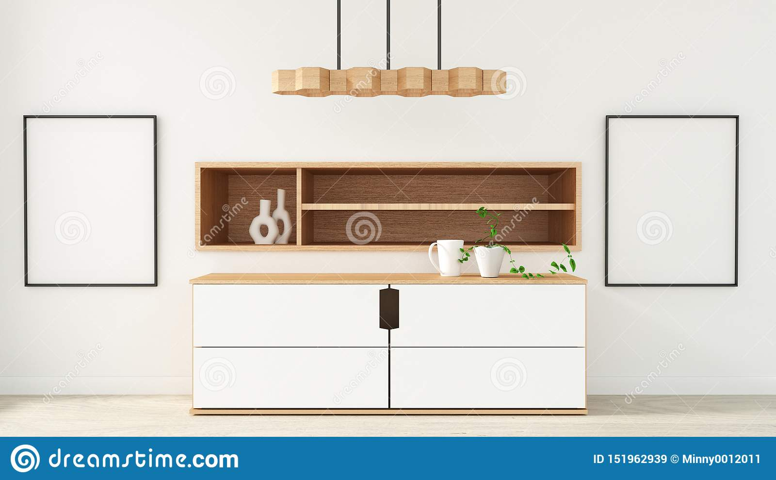 Mock Up Cabinet In Modern Empty Room Japanese Style Minimal