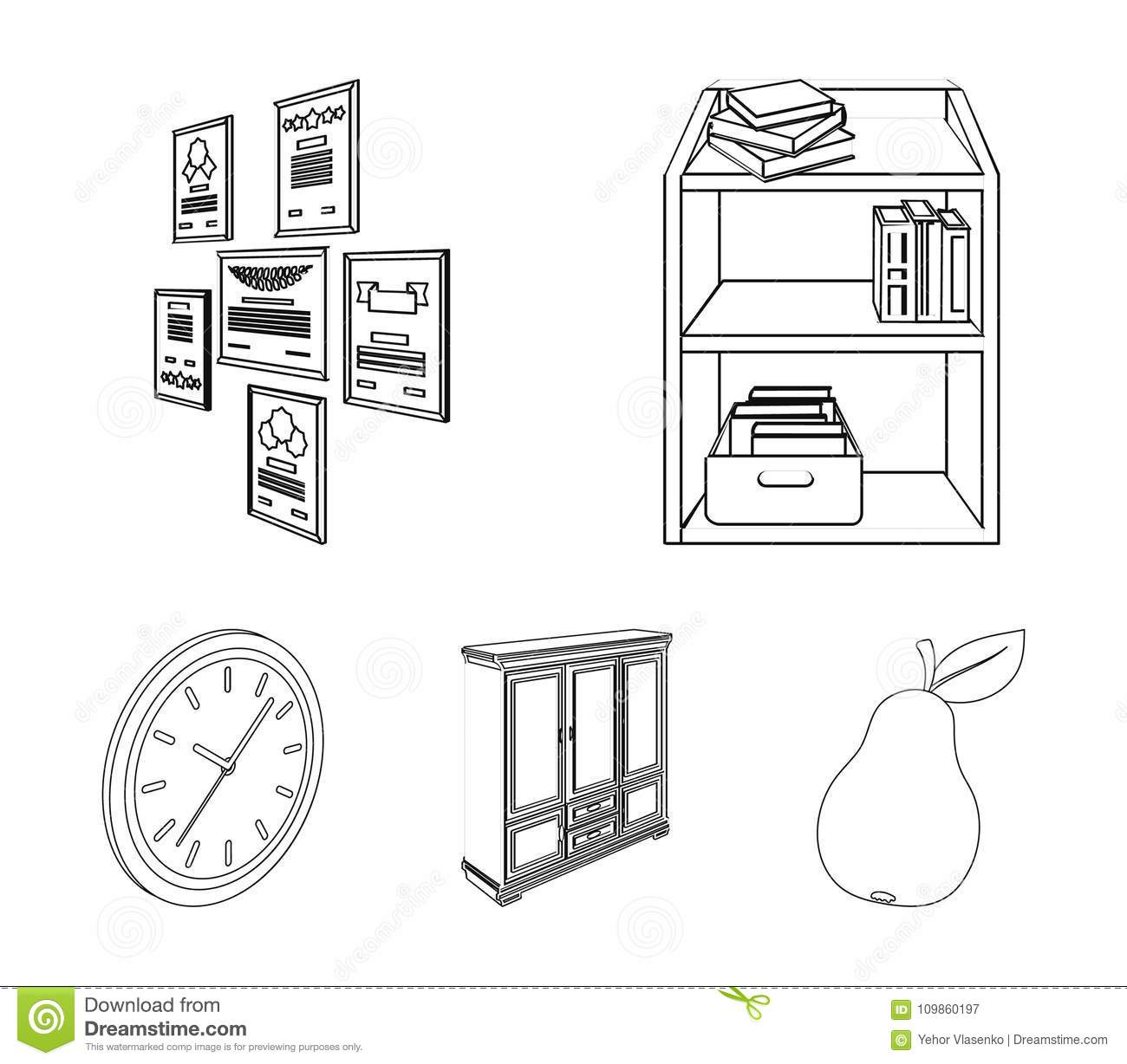Cabinet, Shelving With Books And Documents, Frames On The Wall ...