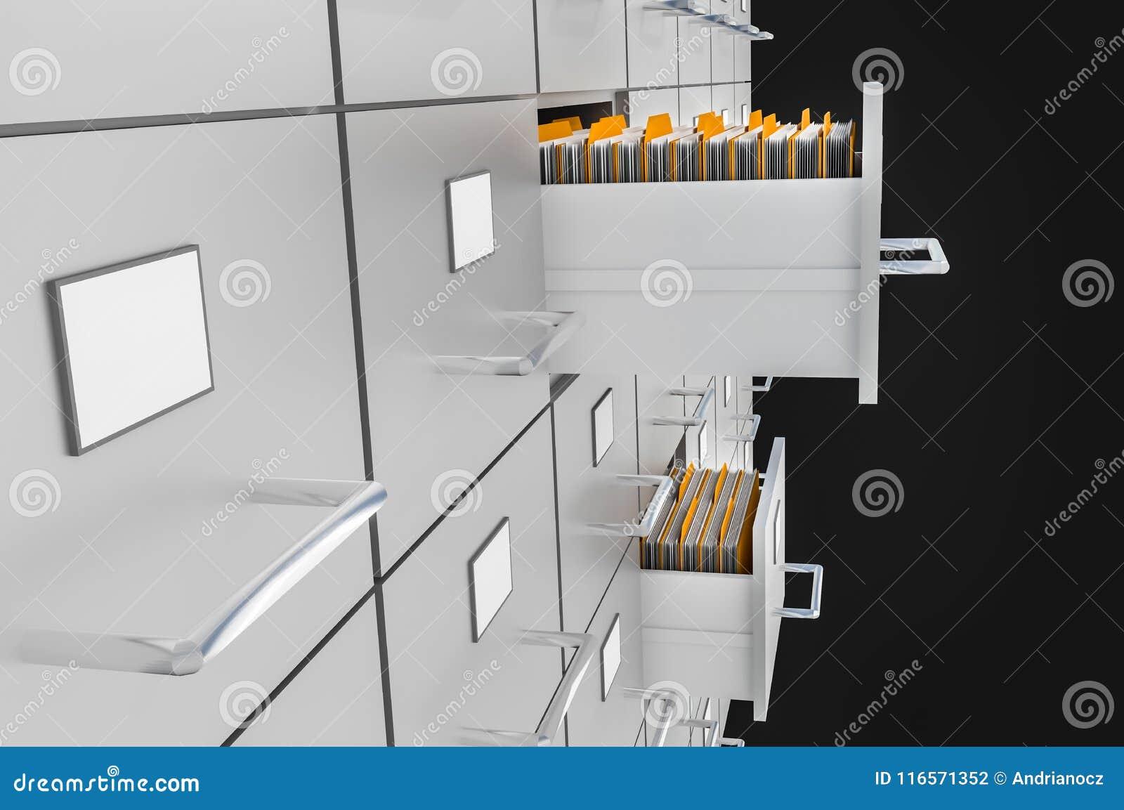 Cabinetes de archivo con los cajones abiertos - concepto de la administración