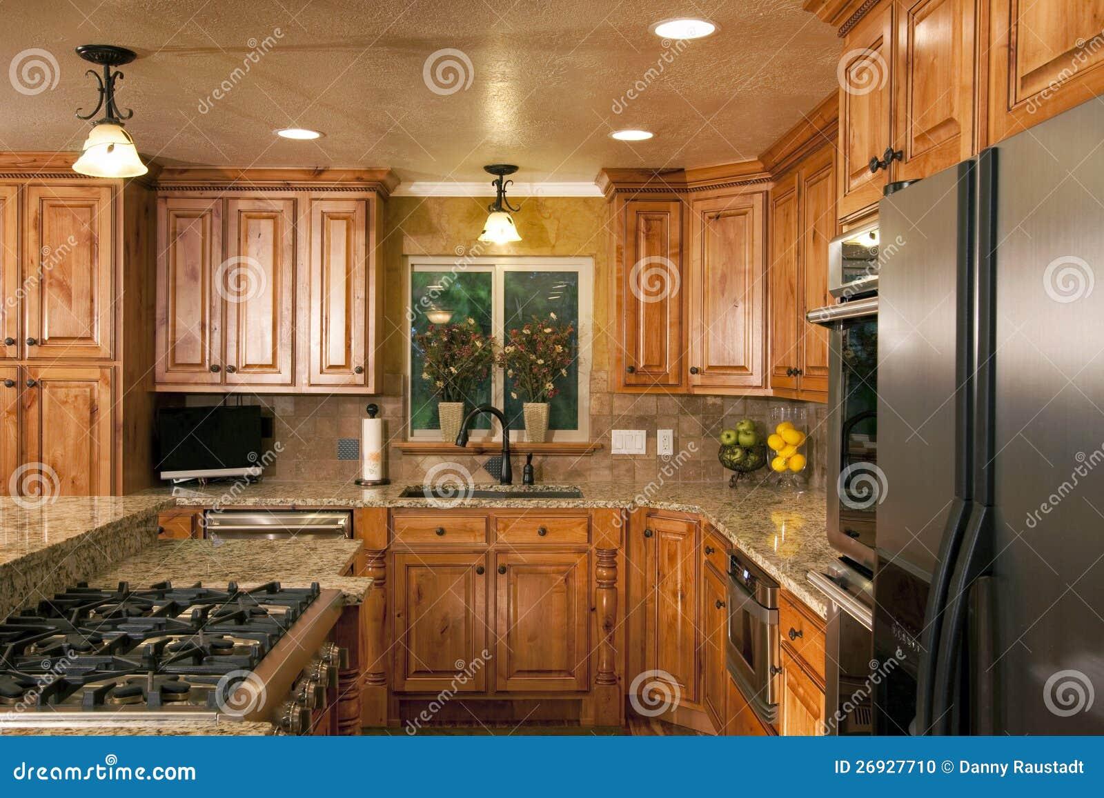 Cabinetry de lujo moderno espacioso de la cocina