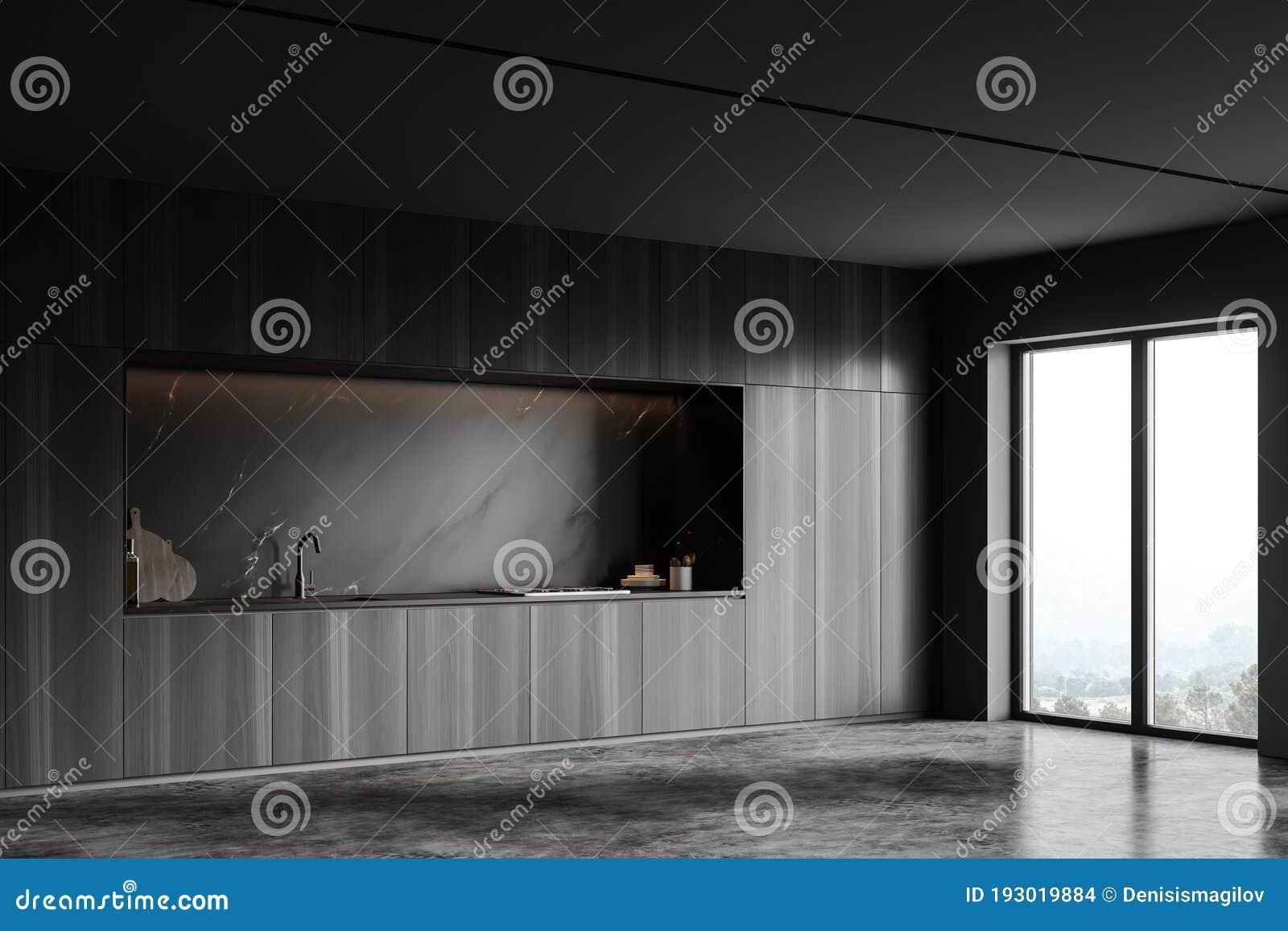 Cabinets In Black Marble Kitchen Corner Stock Illustration Illustration Of Hood Kitchen 193019884