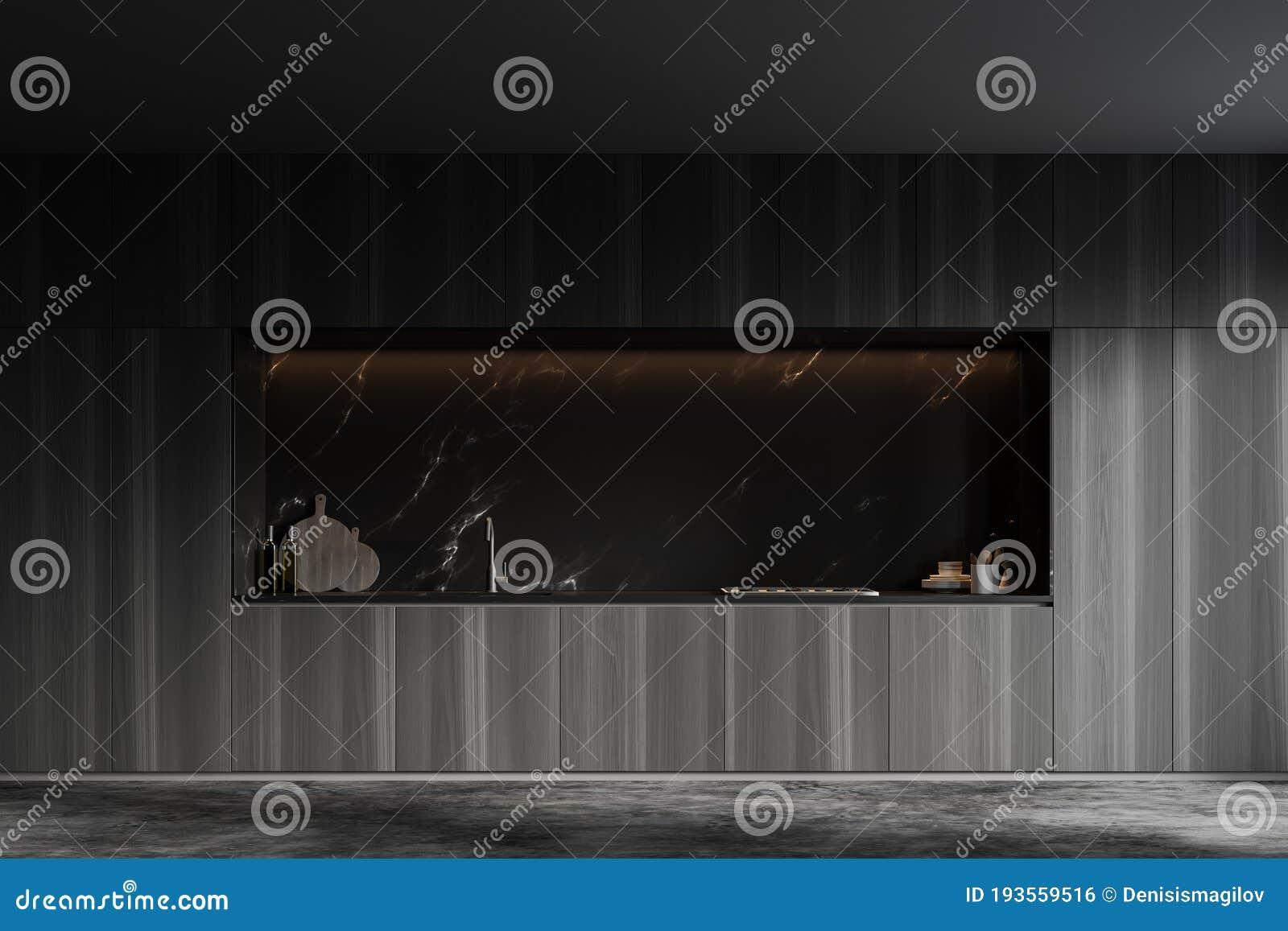 Cabinets In Black Marble Kitchen Stock Illustration Illustration Of Design Decor 193559516