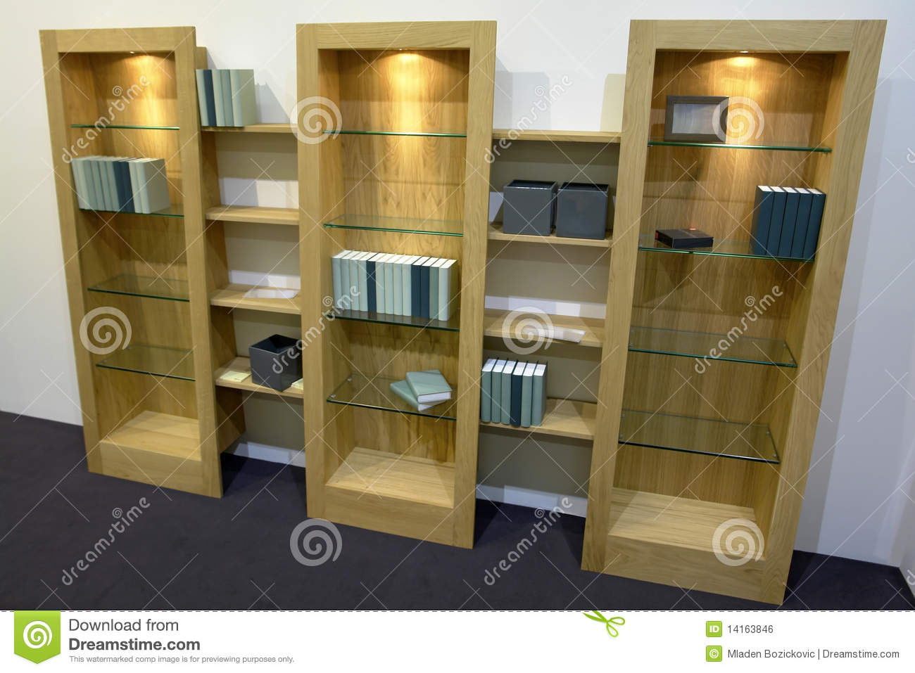 Download Cabinets With Glass Shelves Stock Photo   Image Of Book, Style:  14163846