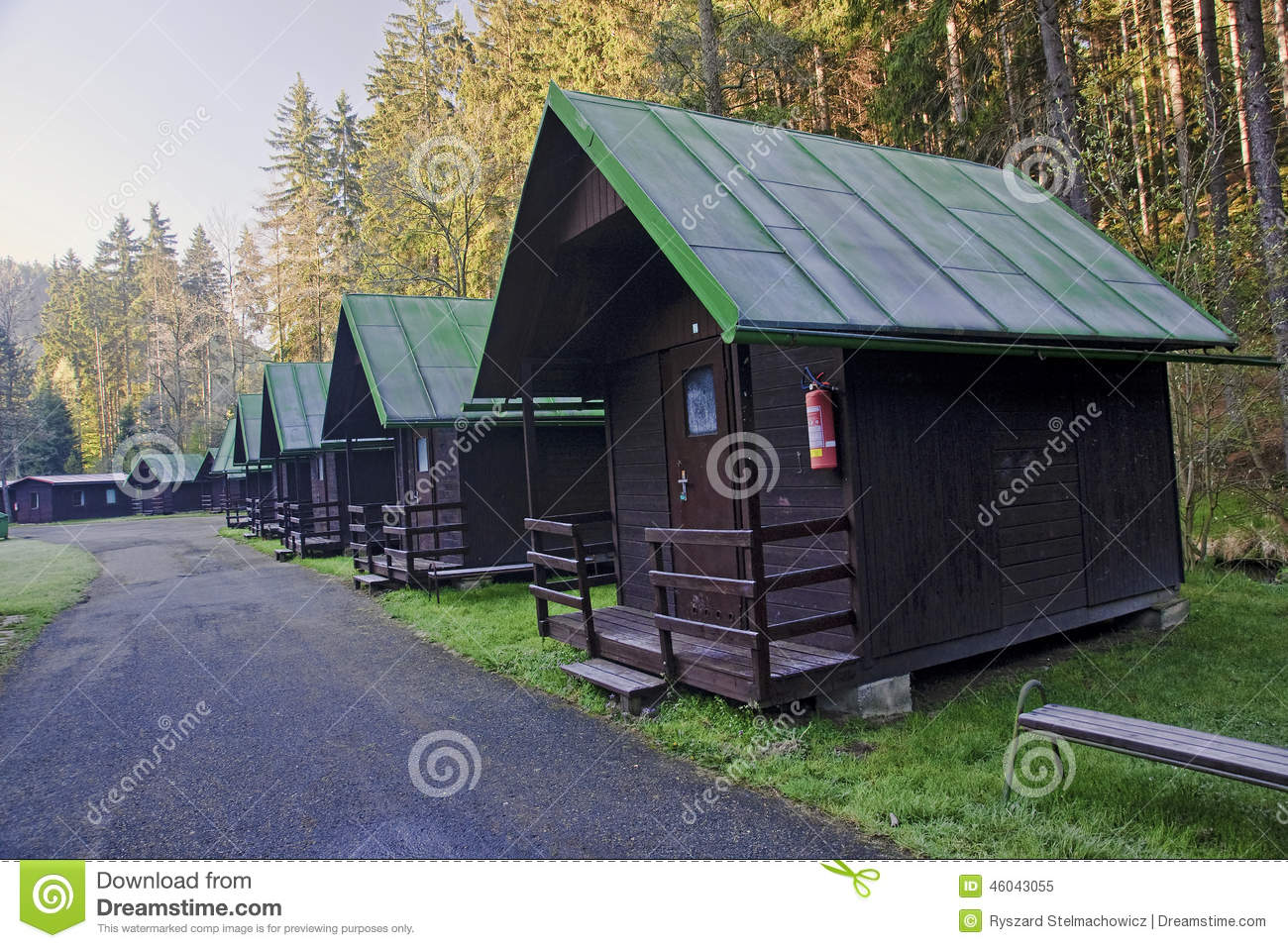 Cabins In The Woods Along The Road Stock Image Image Of Landscape