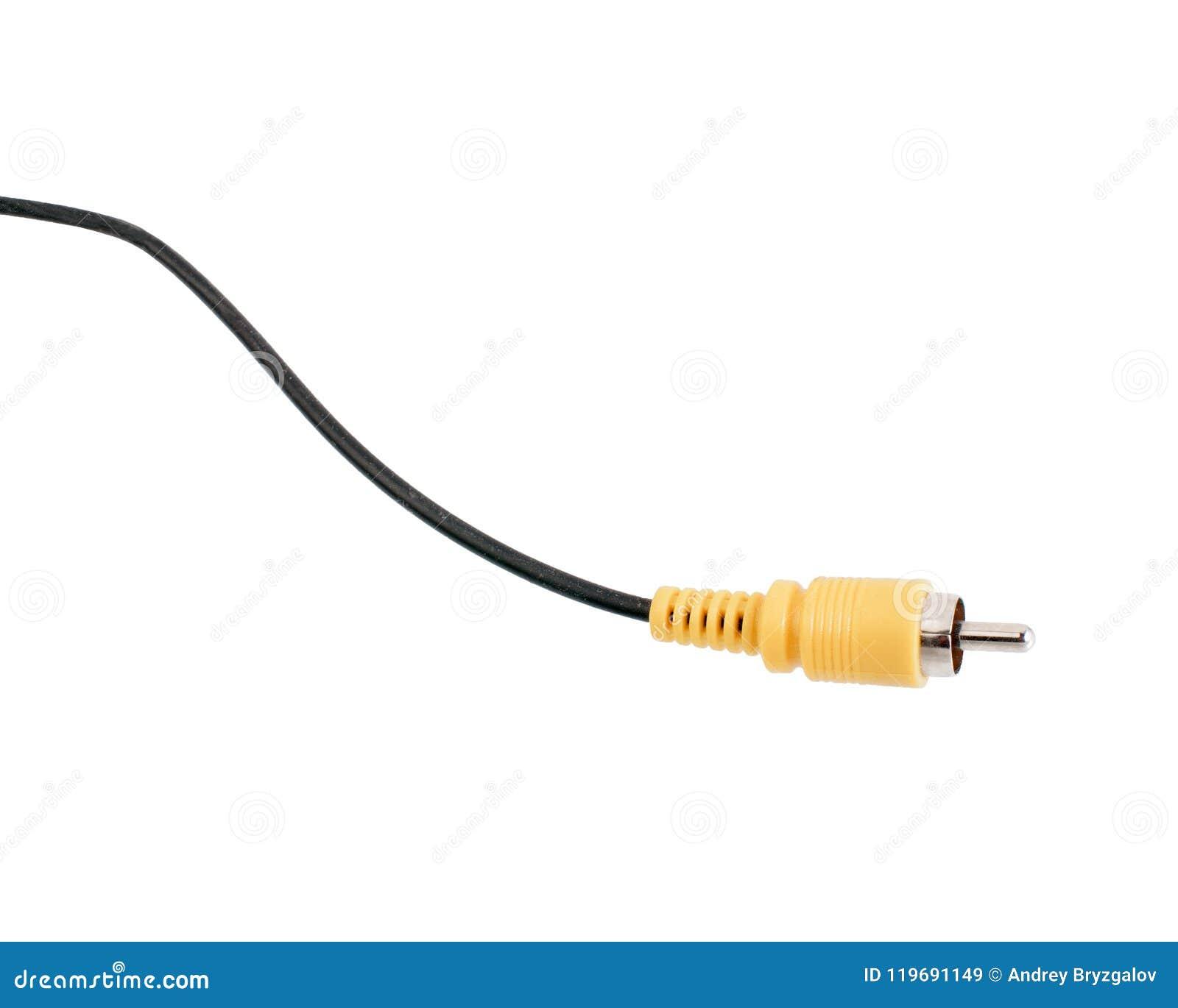 Cable amarillo del conector RCA aislado en el fondo blanco