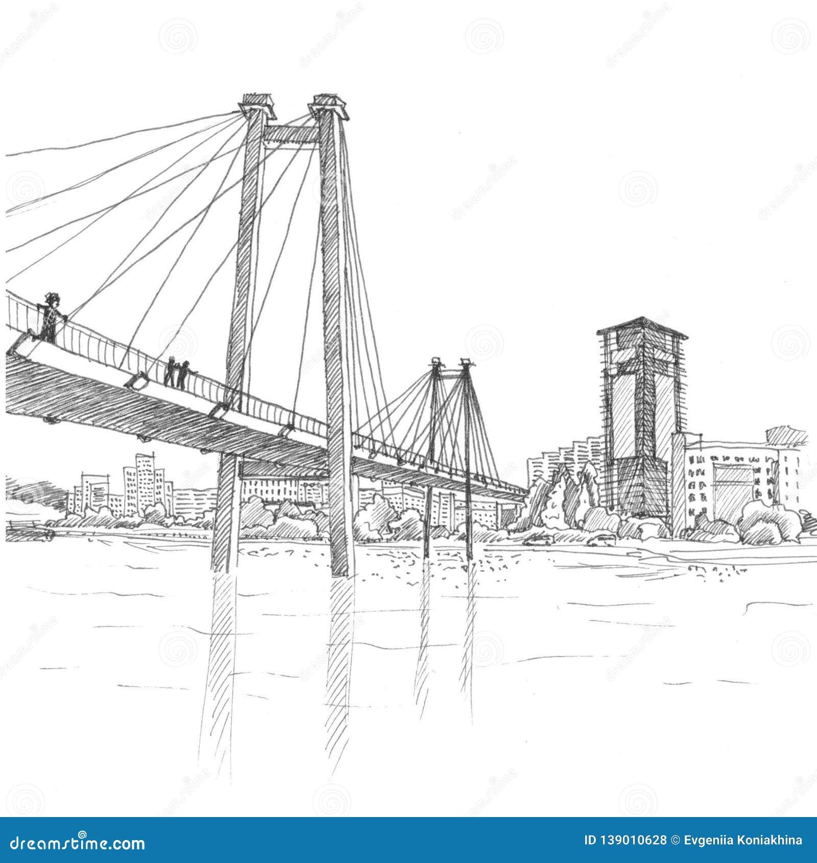 Cable bridge in Krasnoyarsk black and white