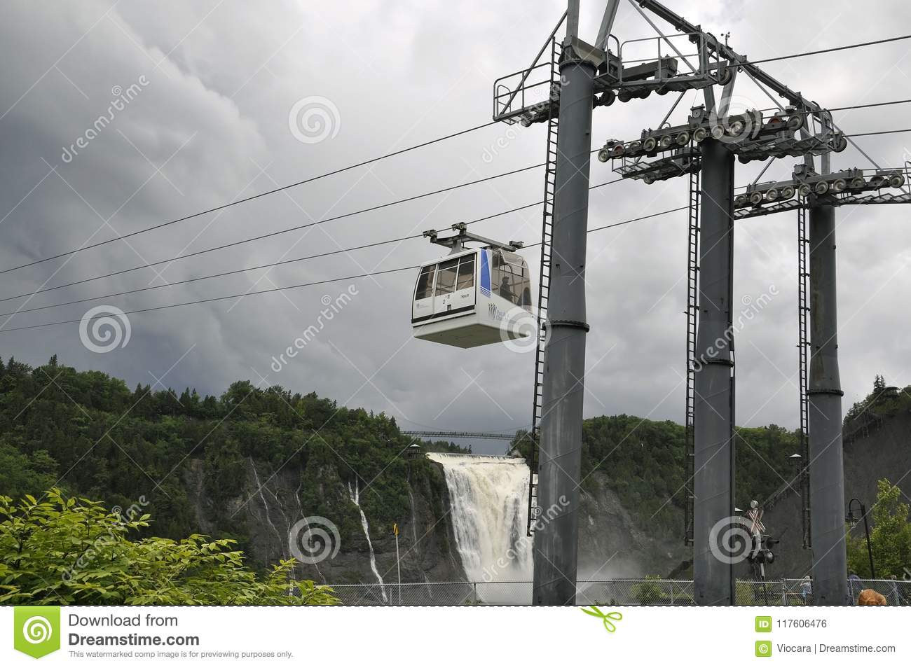 Cable Cabin above Montmorency Falls from Quebec Province in Canada