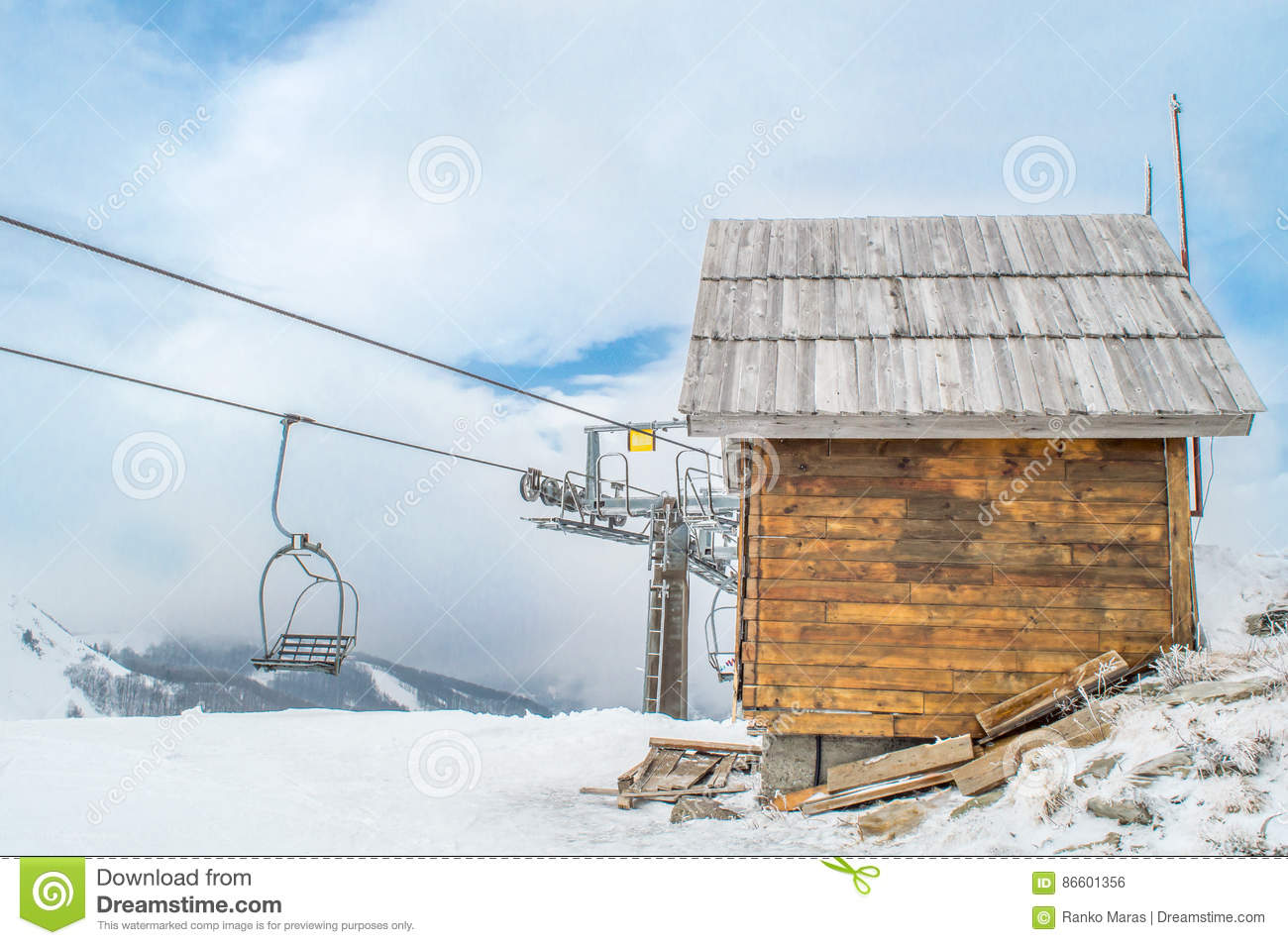 Cable Car, Cottage And Snow Stock Photo - Image of ...
