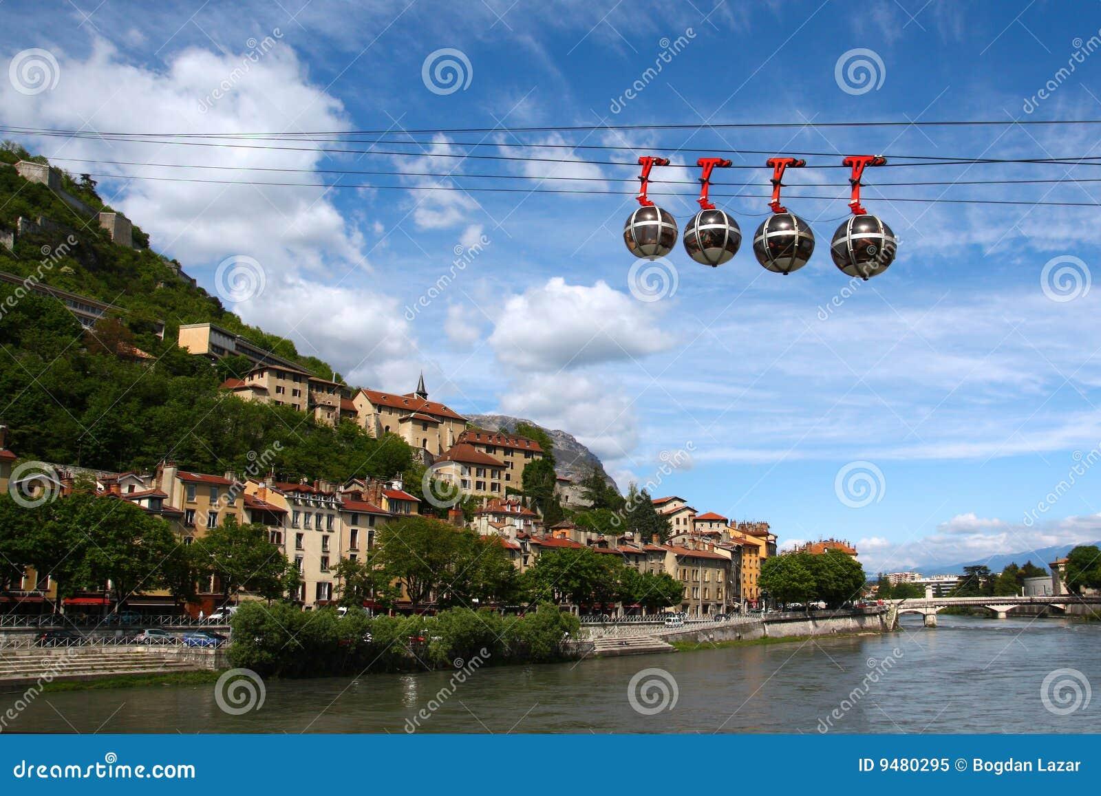 cable car in grenoble france stock image image of spring river 9480295. Black Bedroom Furniture Sets. Home Design Ideas