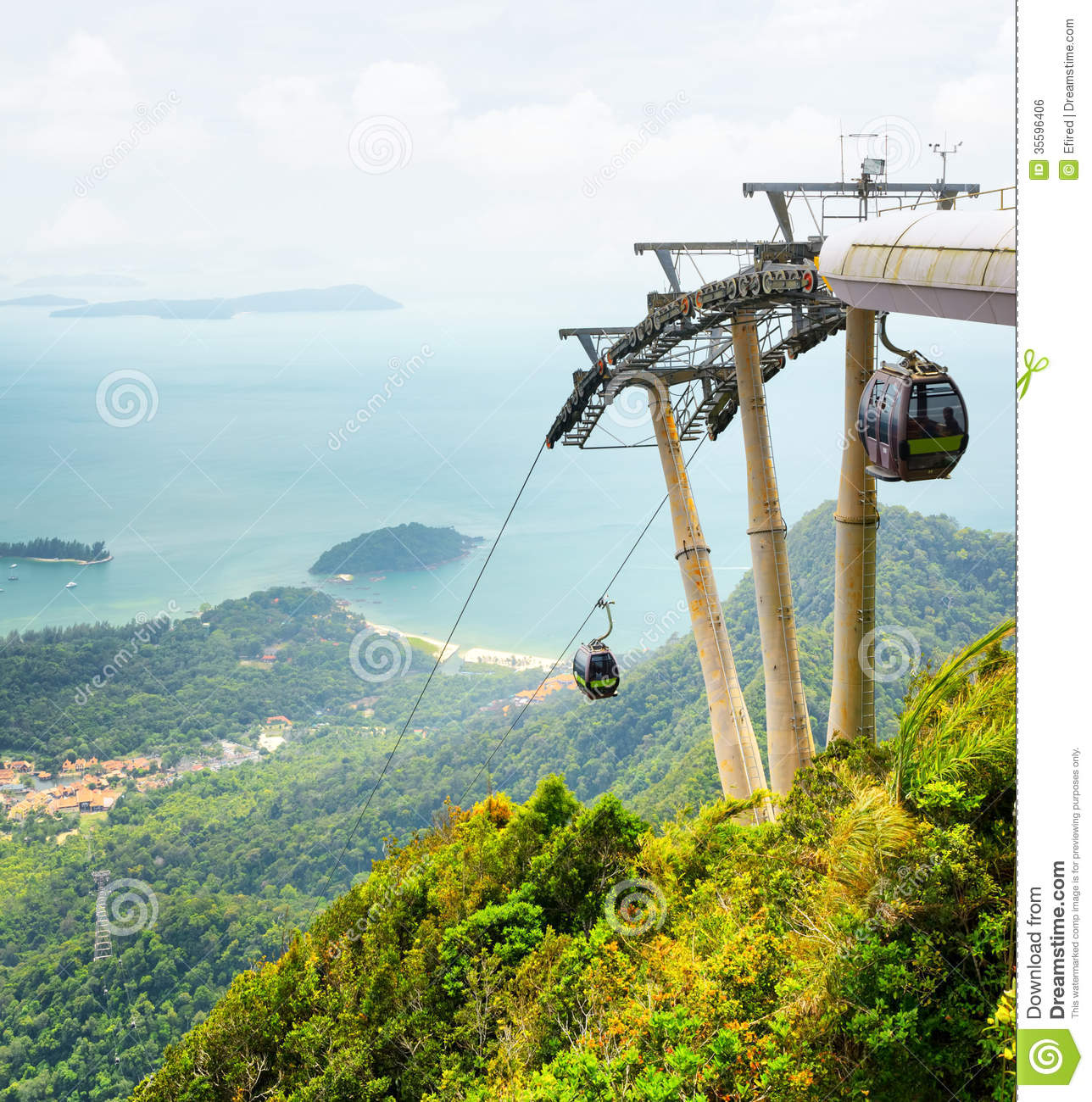 Langkawi Island: Cable Car On Langkawi Island, Malaysia Royalty Free Stock