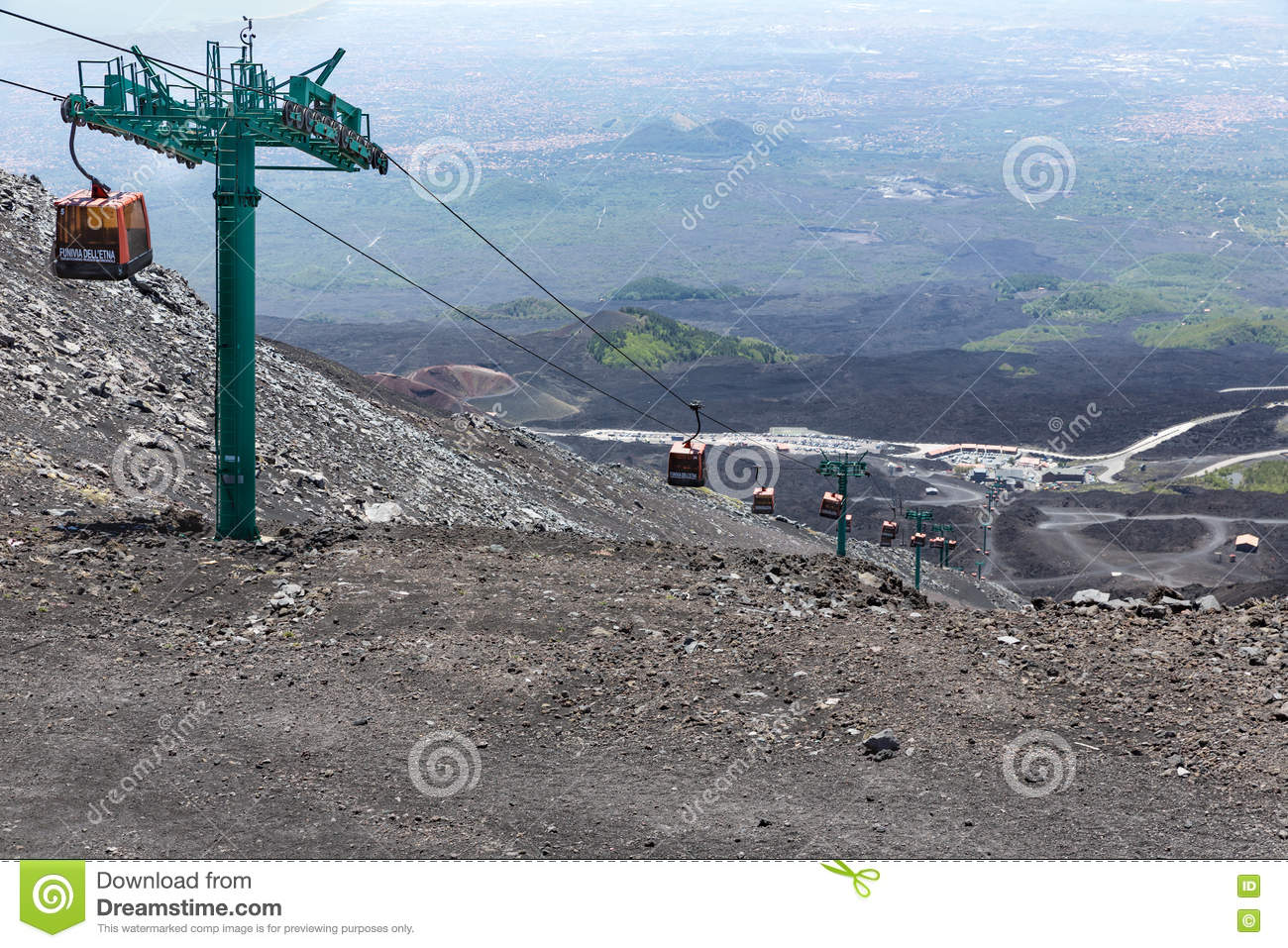 Cable Car Tot Top Of Mount Etna At Sicily Italy Editorial Photo