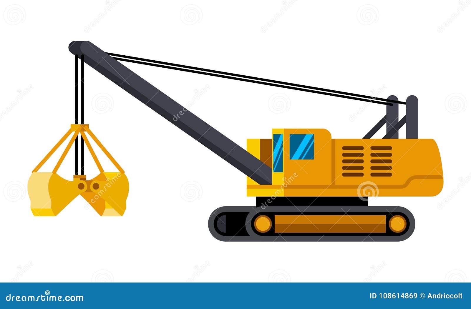 Cable Clamshell Bucket Excavator Minimalistic Icon Stock