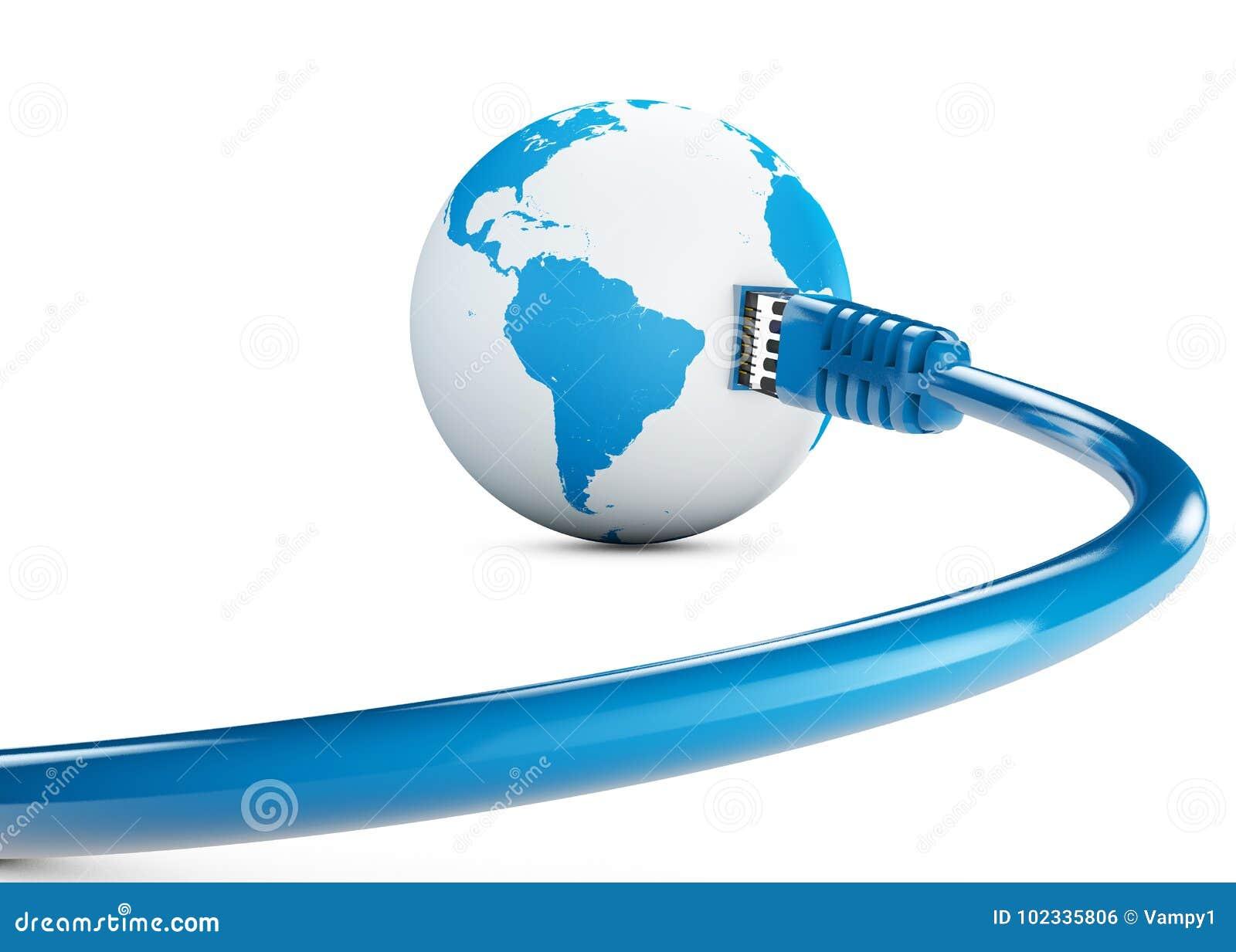 Cable de Ethernet, conexión a internet, ancho de banda El mundo en el web Conexiones del mundo, globo