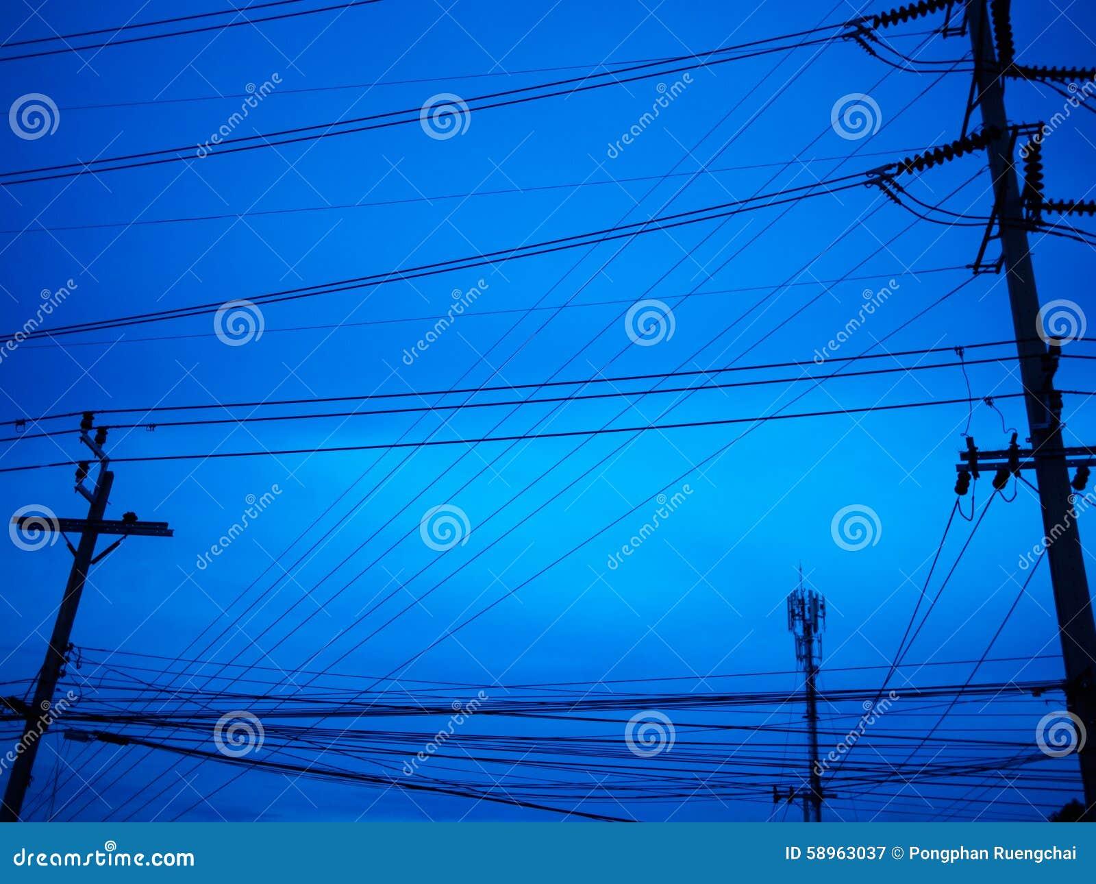 Cable de la electricidad foto de archivo imagen 58963037 - Cables de electricidad ...