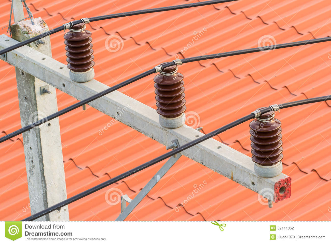 High Voltage Cable Connection Insulator : Cable of electricity stock photography image