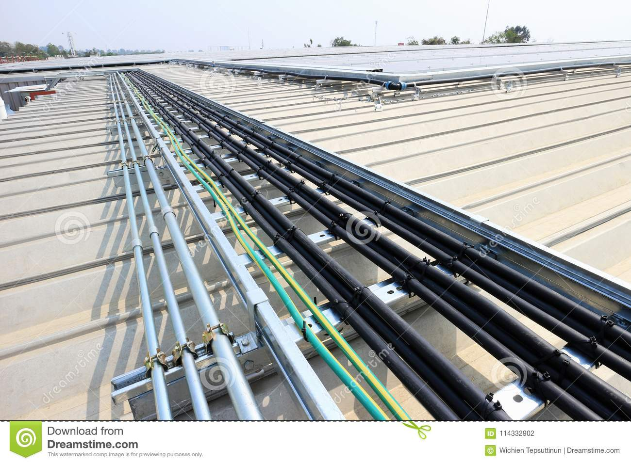Cable Installation For Solar Rooftop System Stock Photo Image Of Panel Wiring