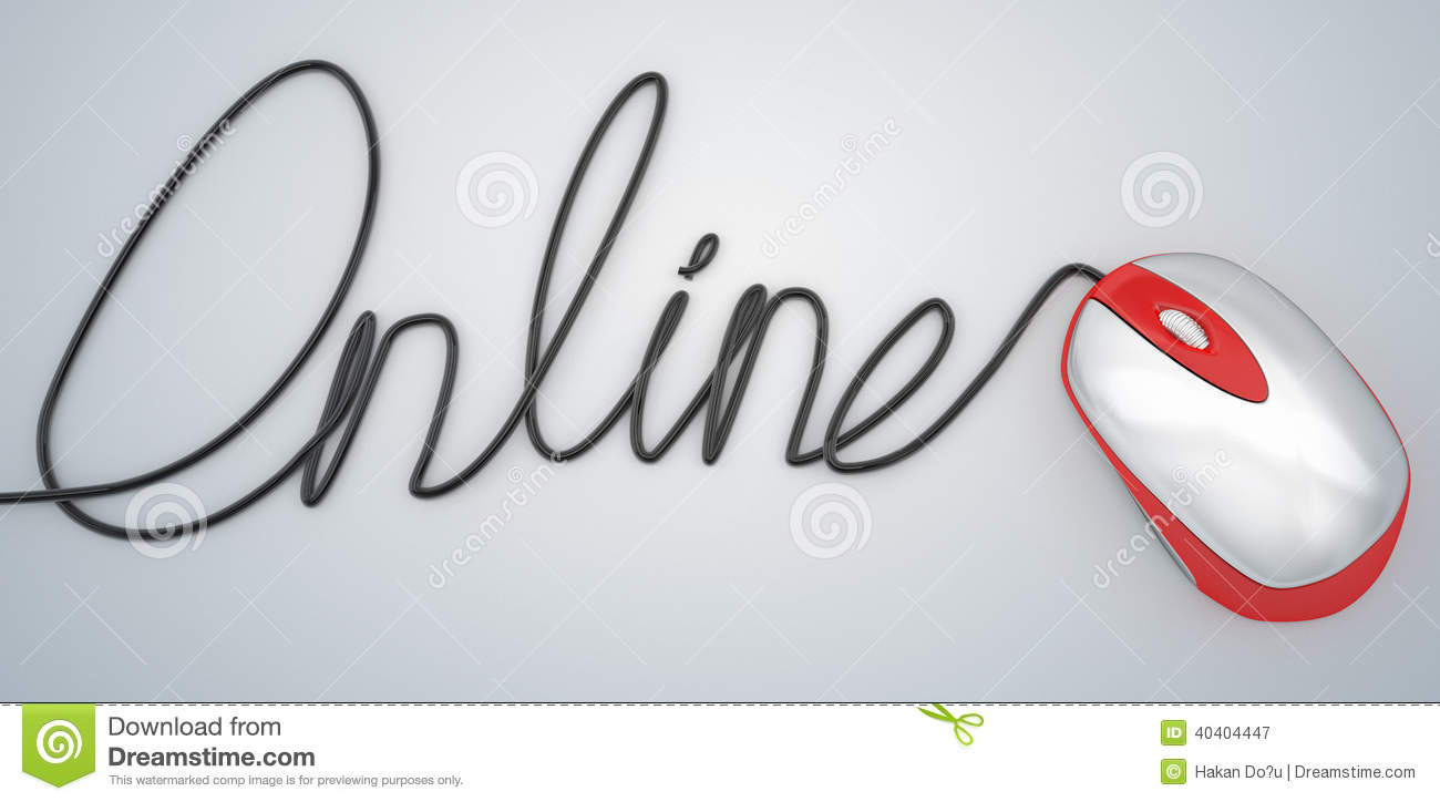 cable and mouse online hand script write stock illustration