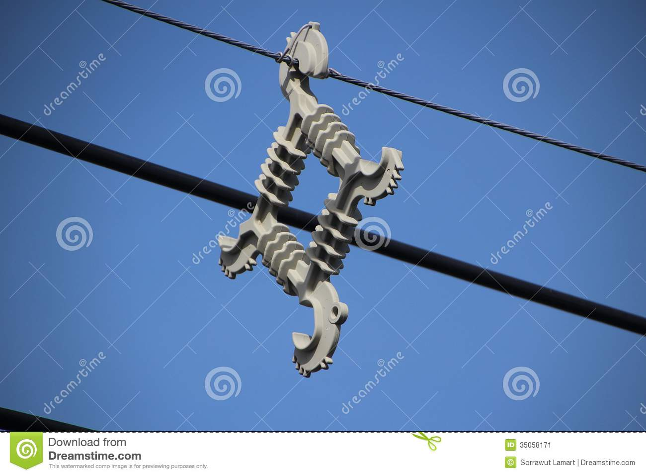 High Voltage Transmission Wire : Cable spacer stock image