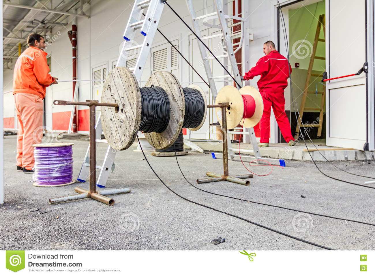 Cable Spool, Coil At Construction Site Editorial Image - Image of ...