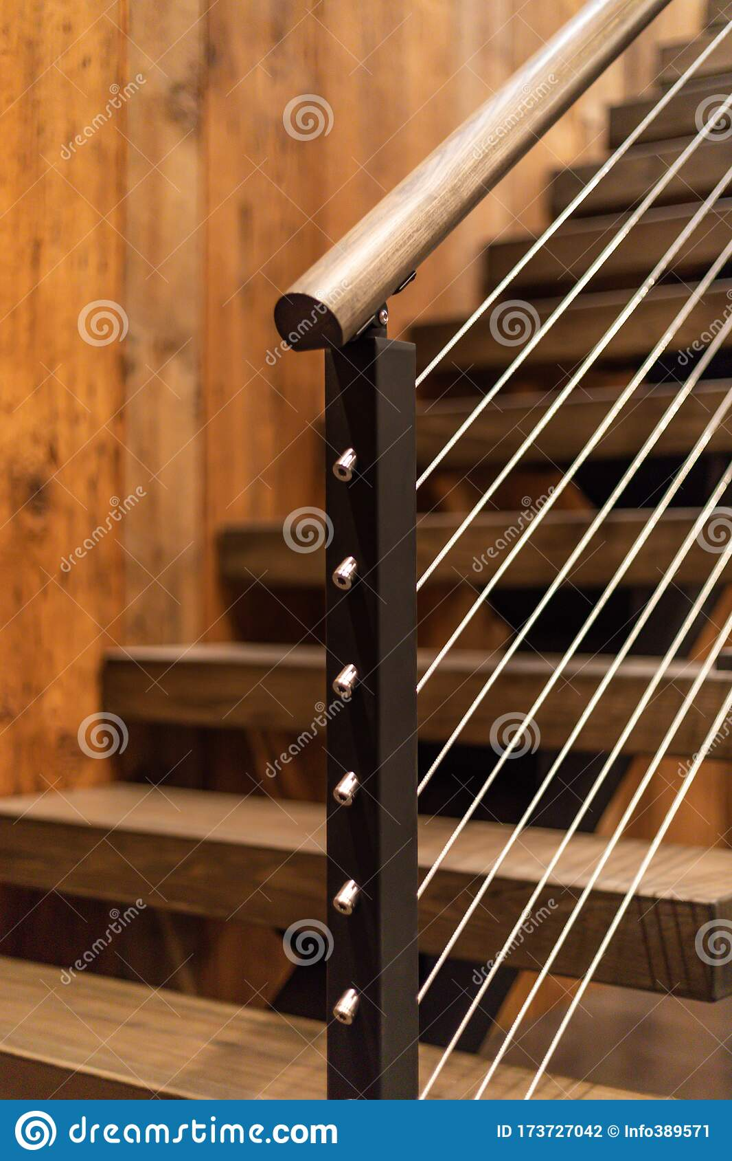 Cable Stair Railing Detail With Wood Treads Stock Photo Image Of Treads Barn 173727042